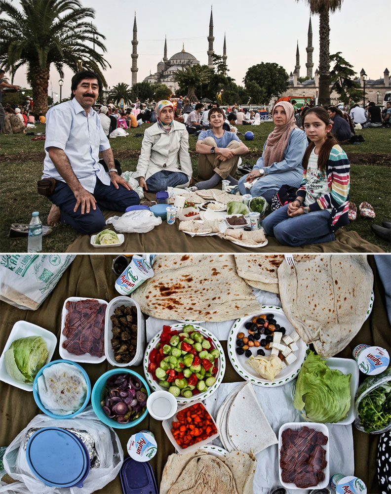 A Muslim family waits to break their fast in Istanbul on July 9, 2014.