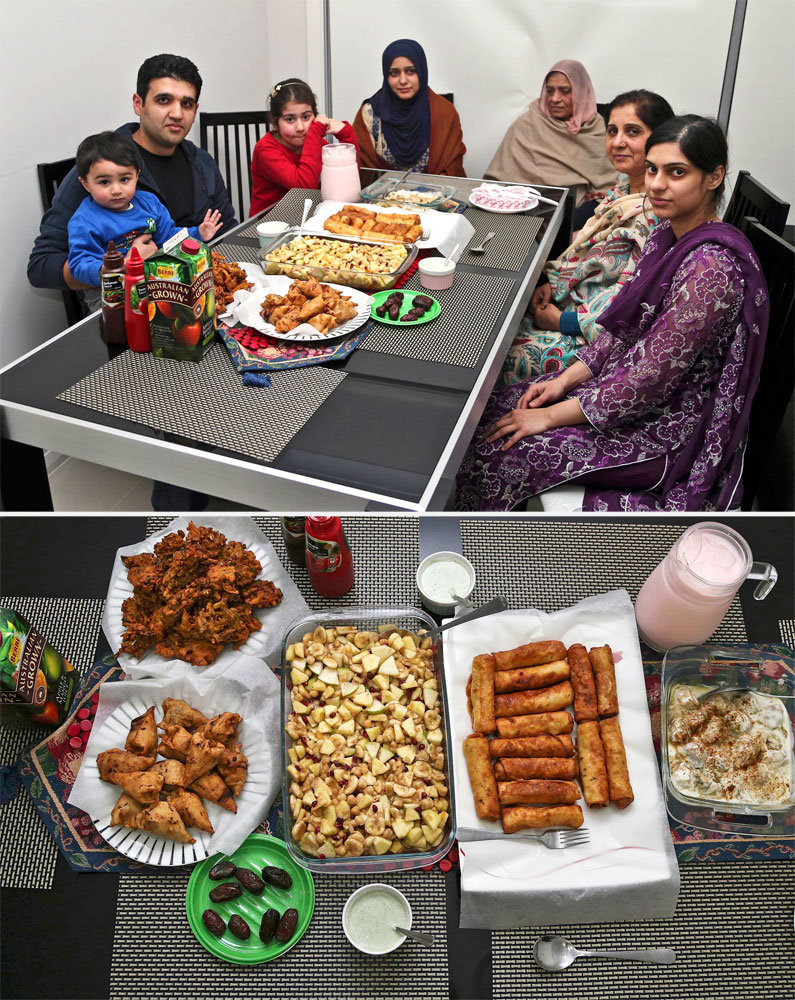 A Muslim family waits to break their fast in Sydney on July 4, 2014.