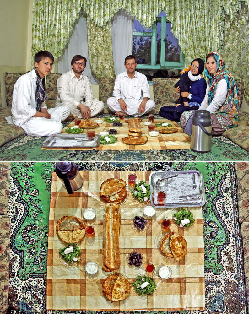 A Muslim family waits to break their fast in Kabul, Afghanistan on July 7, 2014.
