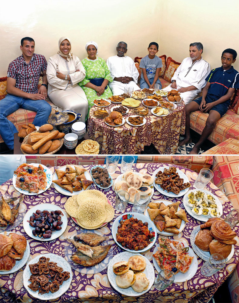 The Aazzab family waits to break their fast in Casablanca, Morocco on July 5, 2014.