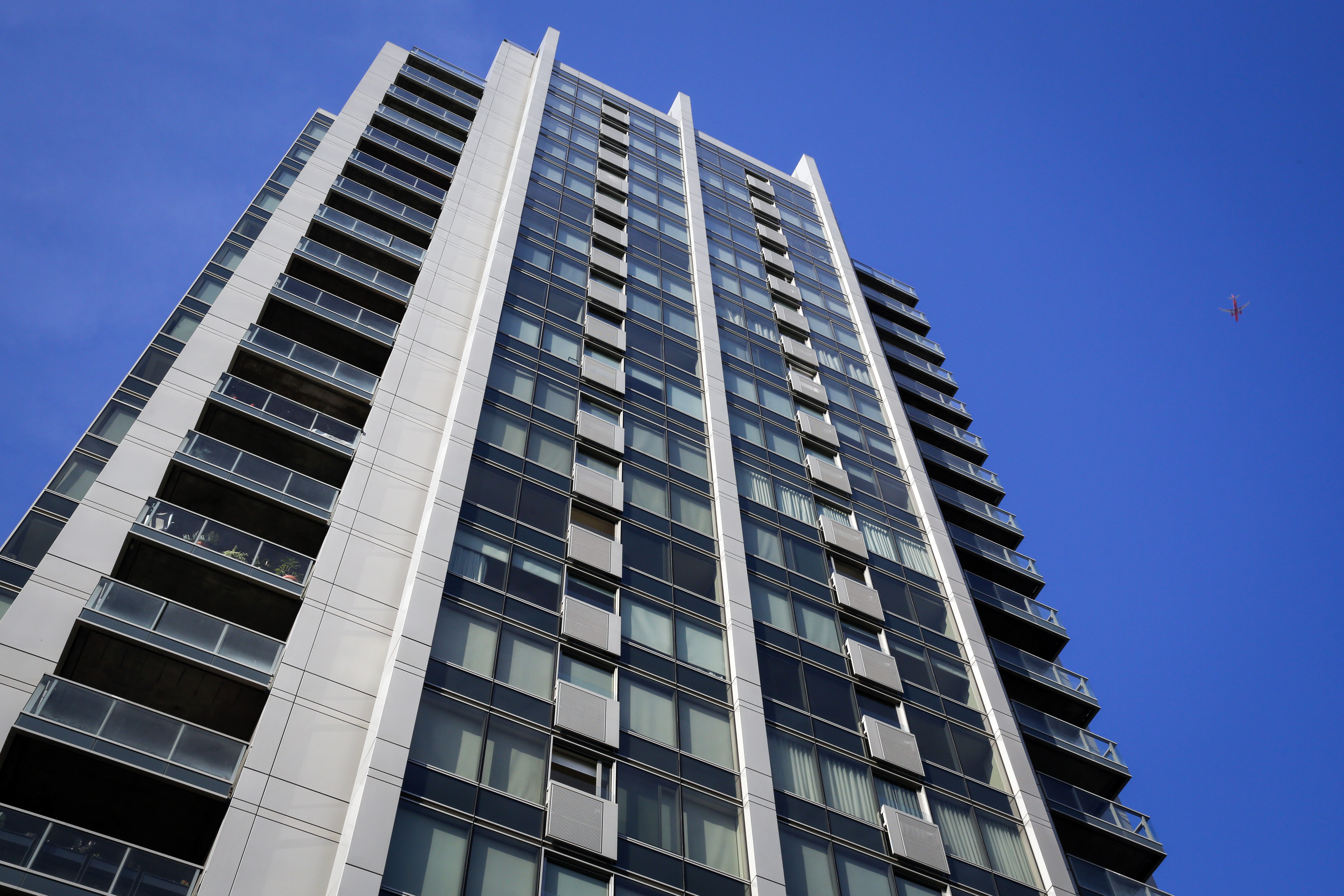 The EVO condominium building stands in downtown Los Angeles on June 23, 2014.