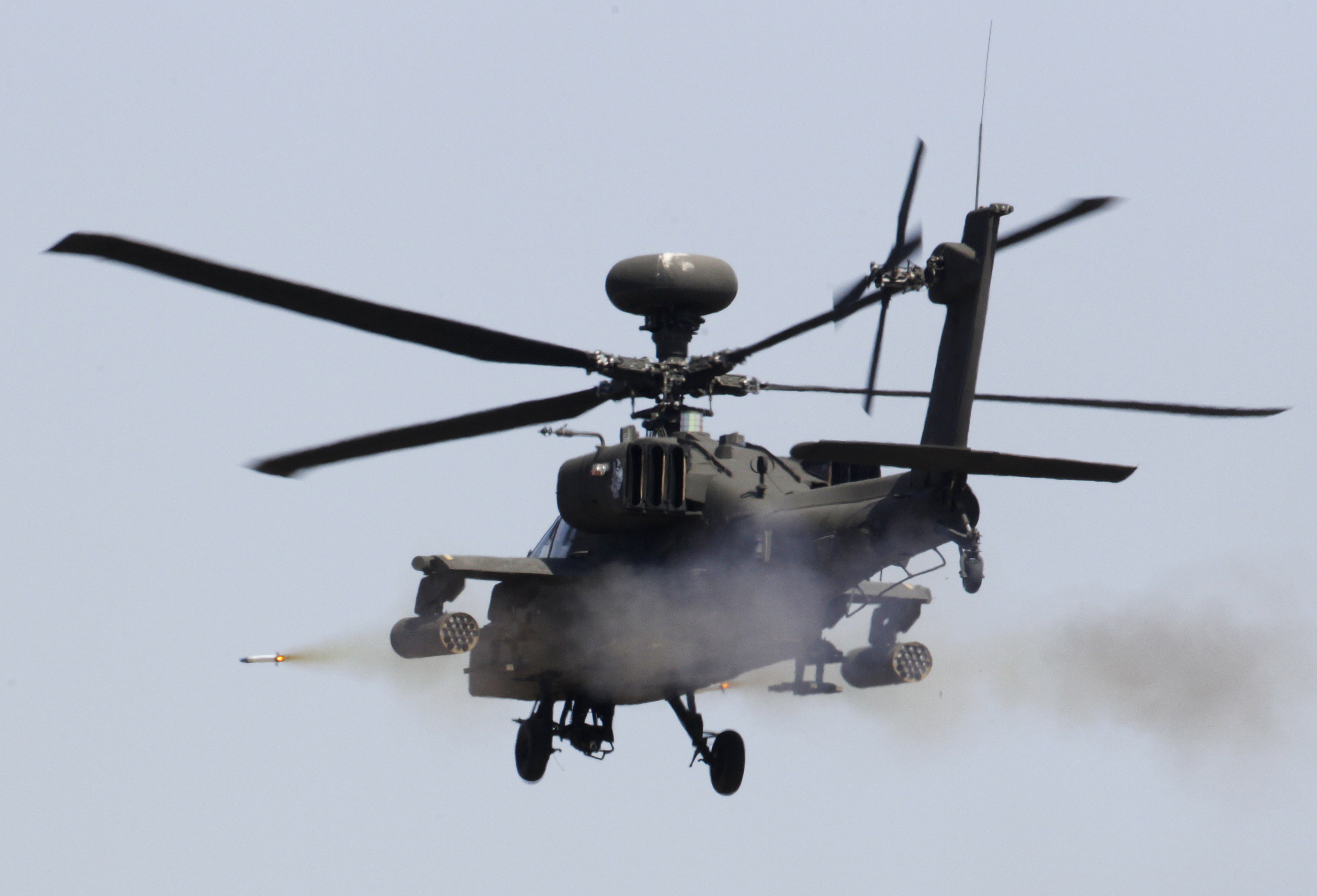 AH-64 Apache helicopters like this one arrived in Baghdad on Sunday.