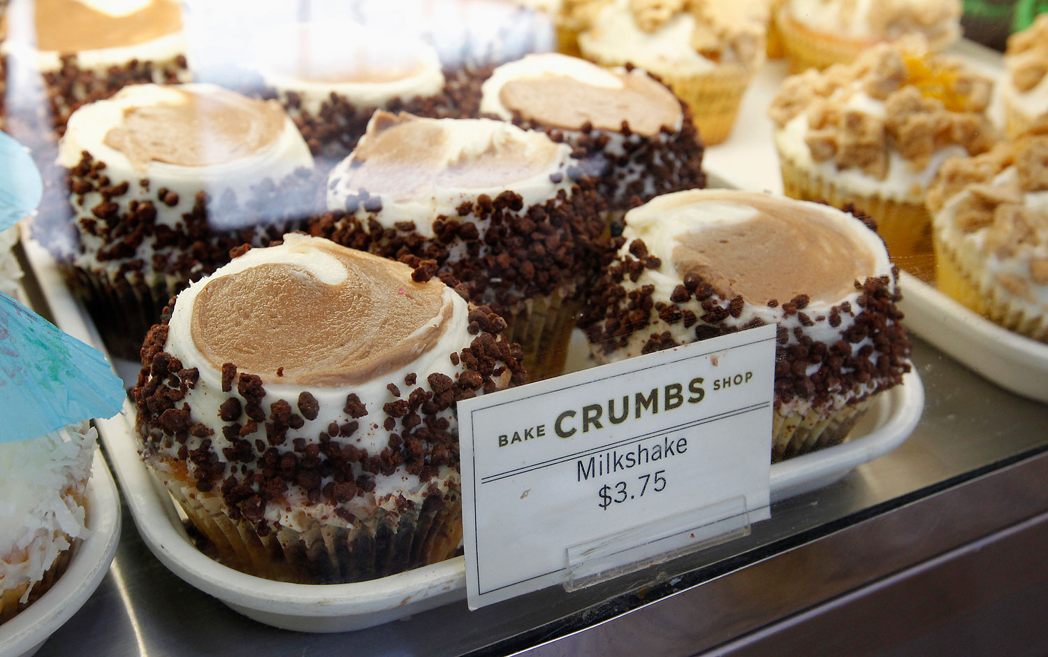 A tray of cupcakes is pictured at a Crumbs Bake Shop in Hollywood, June 29, 2011.