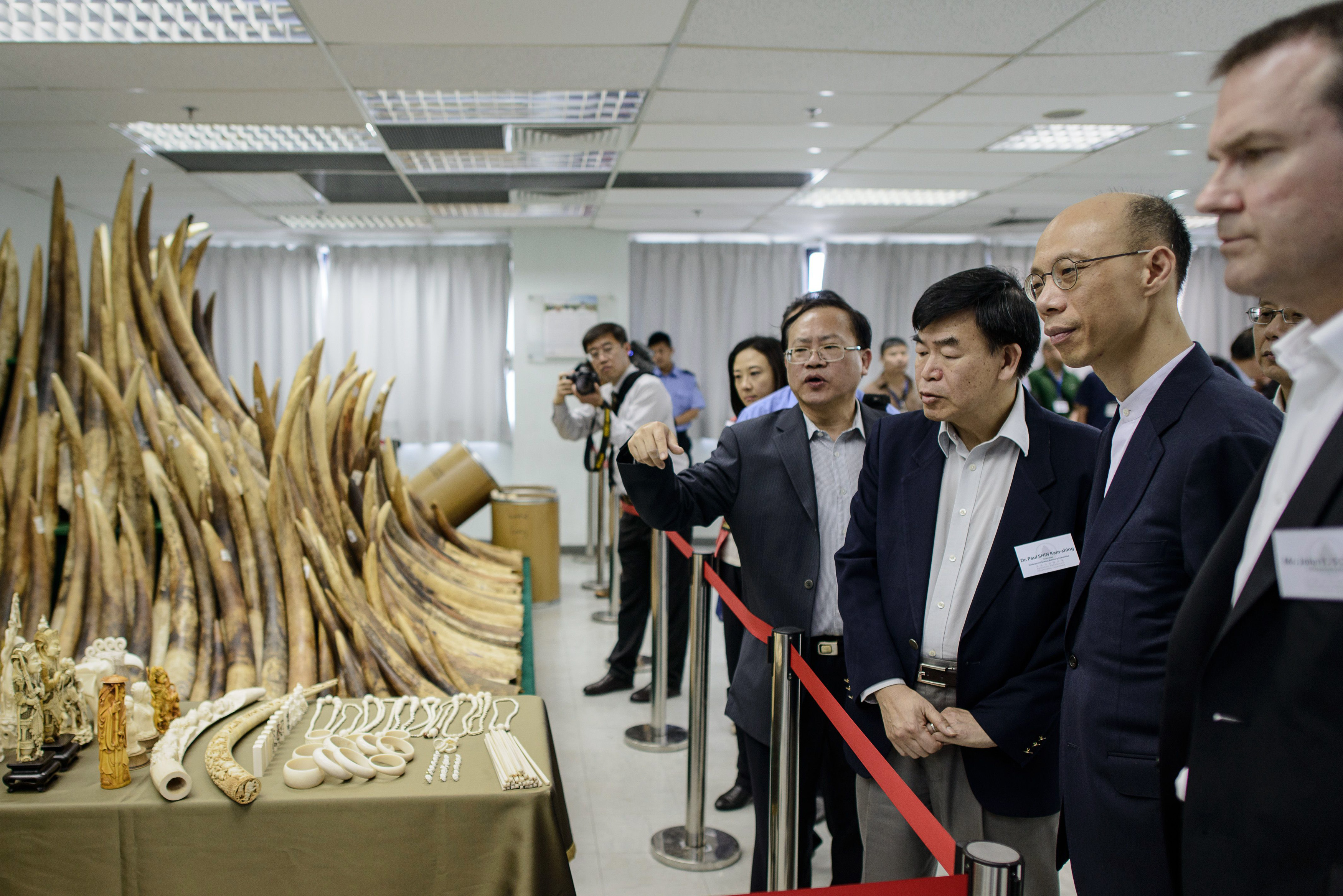 Officials and guests, including Hong Kong's Secretary for the Environment Wong Kam-sing, are shown seized ivory in Hong Kong on May 15, 2014