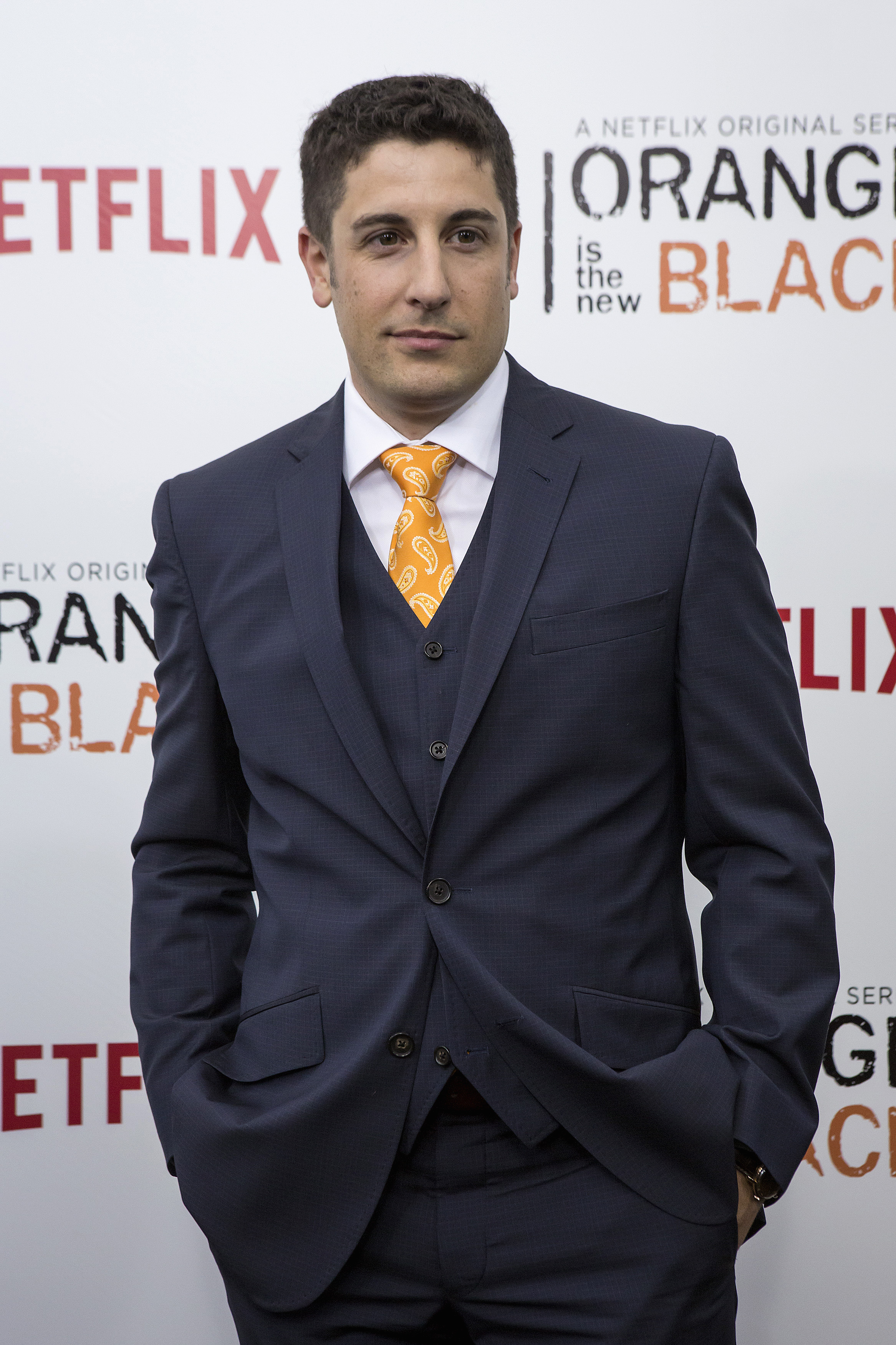 Cast member Jason Biggs attends the season two premiere of  Orange is the New Black  in New York on May 15, 2014. Biggs sparked public outrage after a series of controversial Twitter posts about Malaysia Airlines flight MH17 shortly after it crashed.