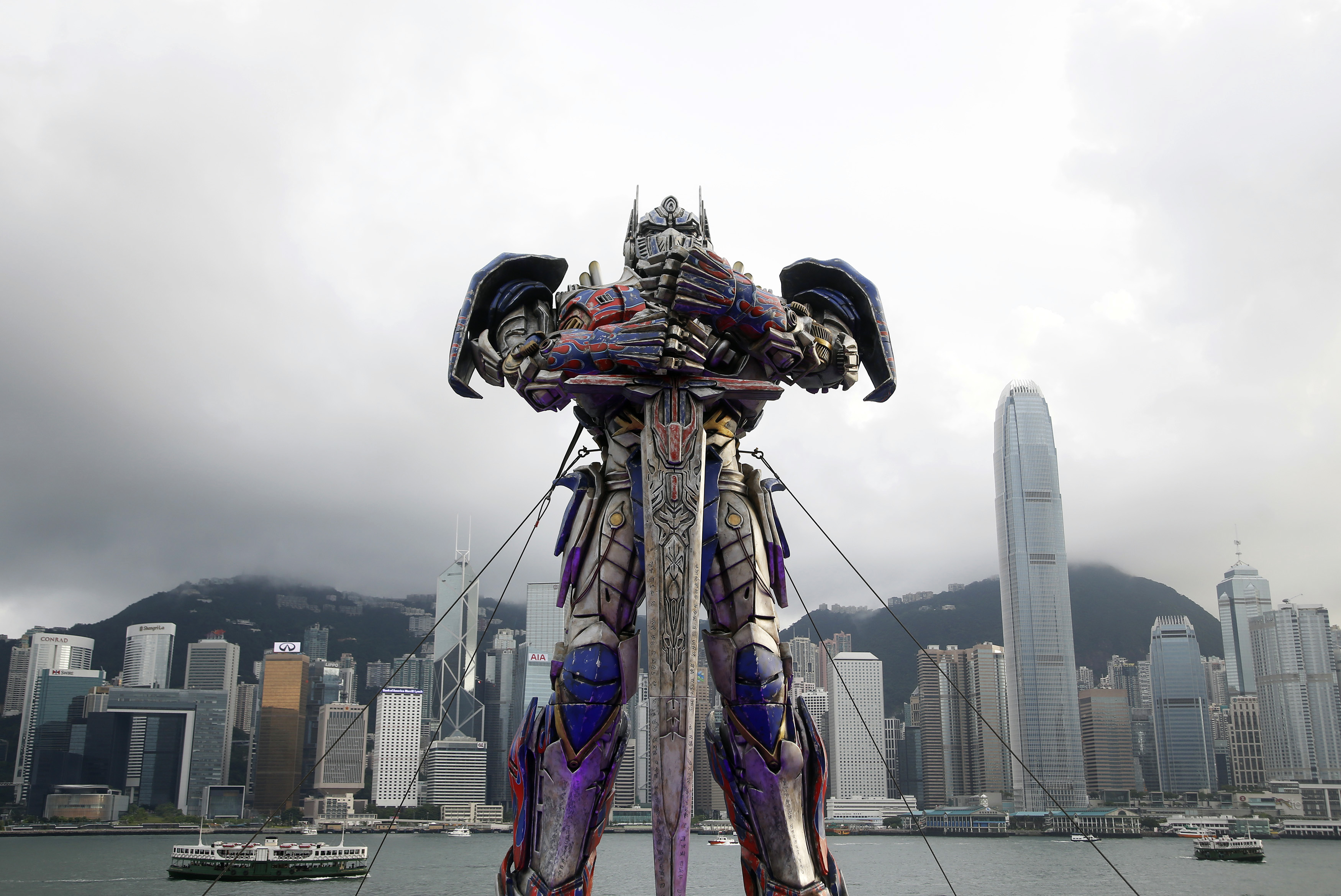 A model of the character Optimus Prime is displayed on the red carpet before the world premiere of Transformers: Age of Extinction in Hong Kong on June 19, 2014
