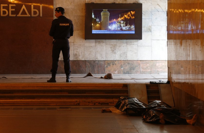 Bodies of those killed in a Moscow metro derailment, July 15, 2014.