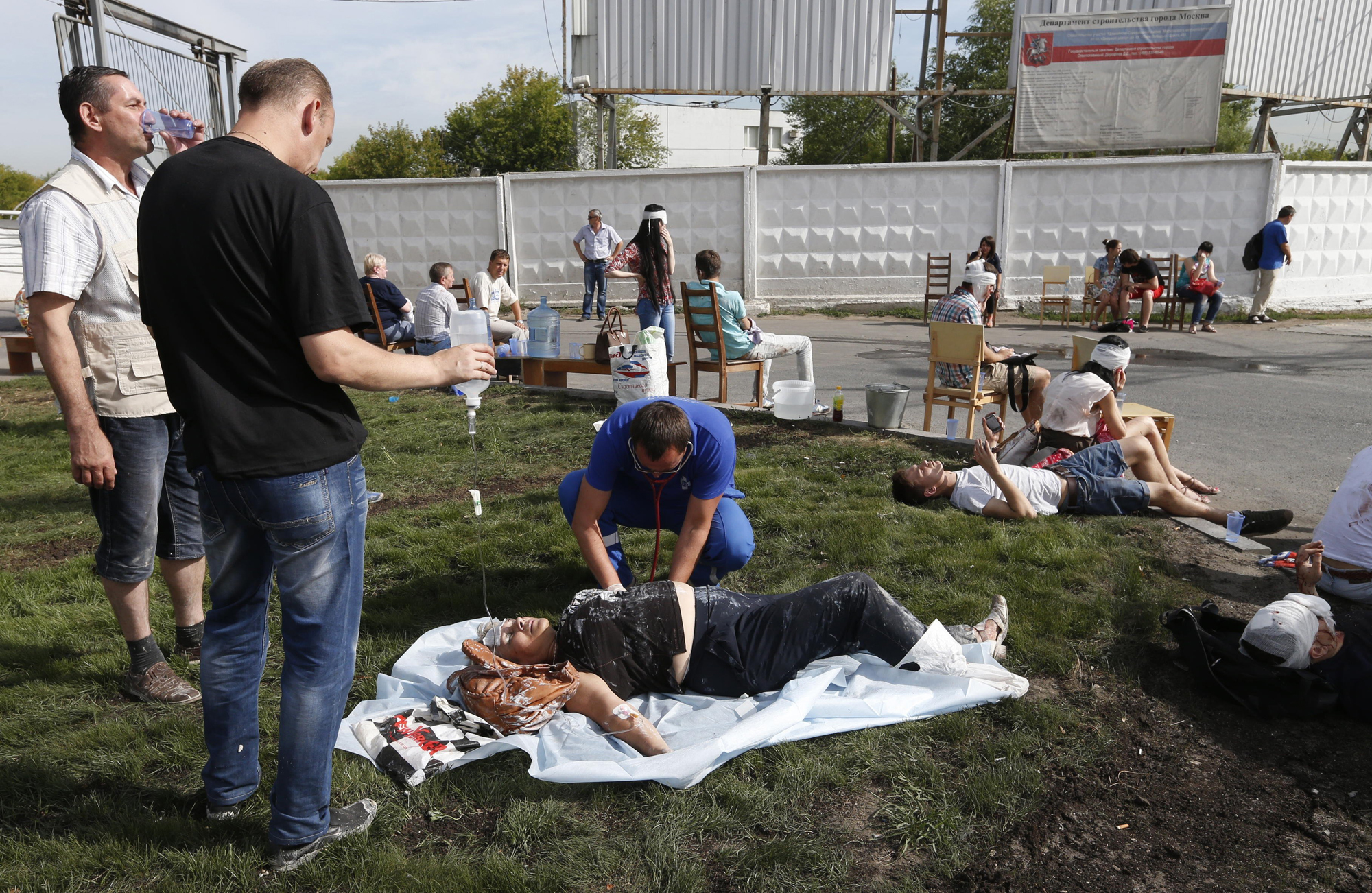People injured in a Moscow metro derailment, July 15, 2014.