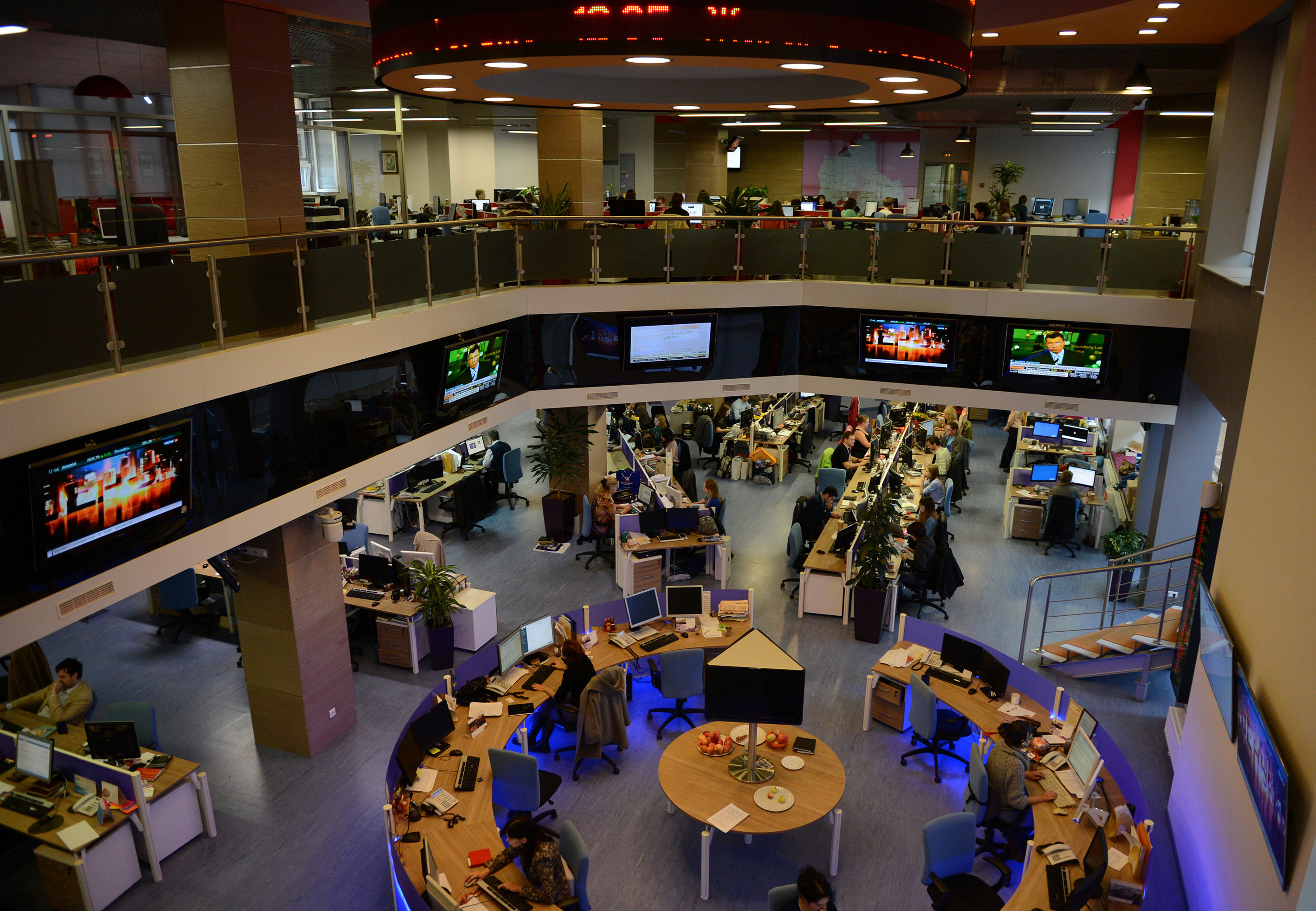 An internal view of the former Russian RIA Novosti news agency headquarters, which is now Rossia Segodnya (Russia Today) global news agency since President Vladimir Putin signed a decree liquidating the former news agency, in the capital Moscow, on Dec, 12, 2013.