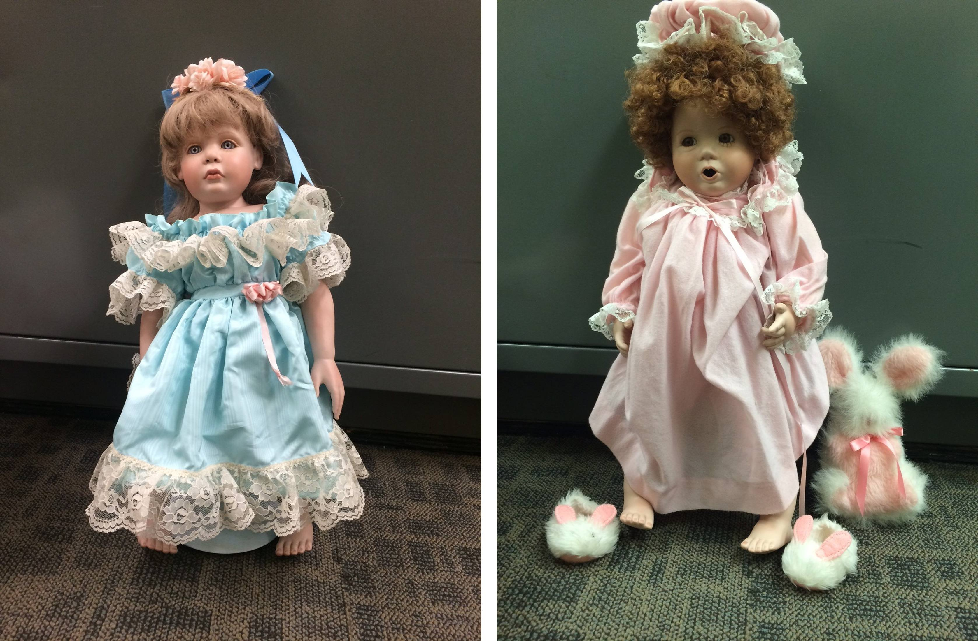 A combination photo showing two of the porcelain dolls found on doorsteps of numerous residences in the Talega community of San Clemente, Calif., July 24, 2014.