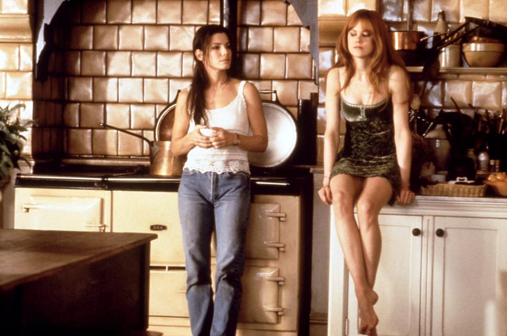 Bullock and Nicole Kidman played witch sisters trying to be their family's love curse in 1998's  Practical Magic.  The film opened at number 1 the weekend of its release but was not well-received by critics.
