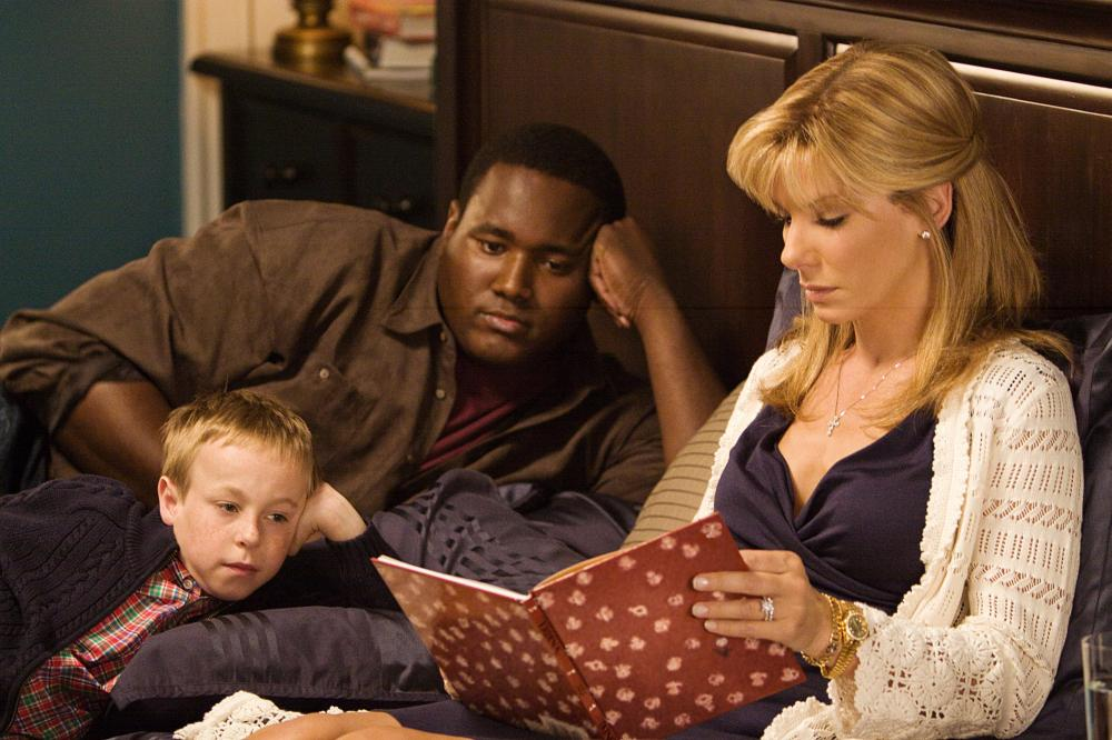 Bullock picked up her  Best Actress  Oscar playing Leigh Anne Tuohy alongside Jae Head and Quinton Aaron (pictured here) in 2009's  The Blind Side.  The film, inspired by the real-life story of NFL player Michael Oher, was also nominated for  Best Picture  in a year where 10 films were nominated for the category.