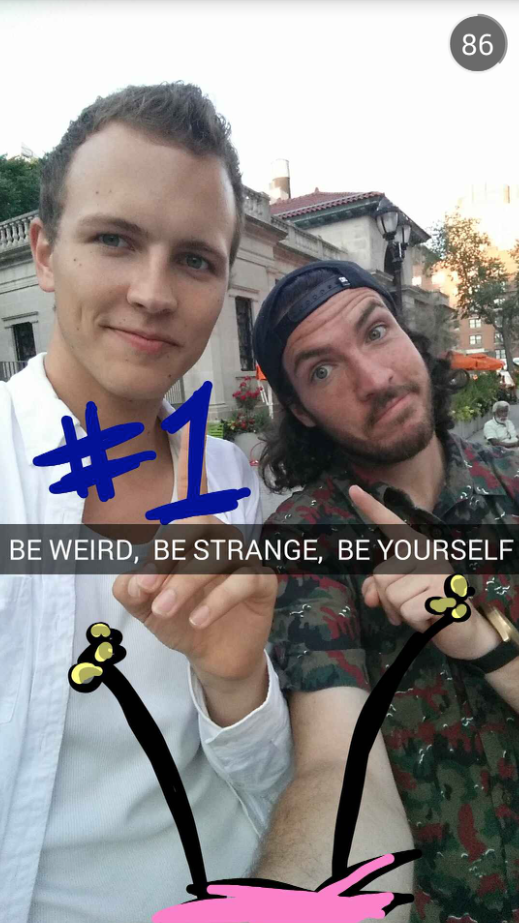 Snapchat stars Jerome Jarre and Shonduras pose in a Snapchat