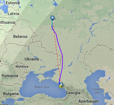 SU1131's flight path on May 14, 2014.
