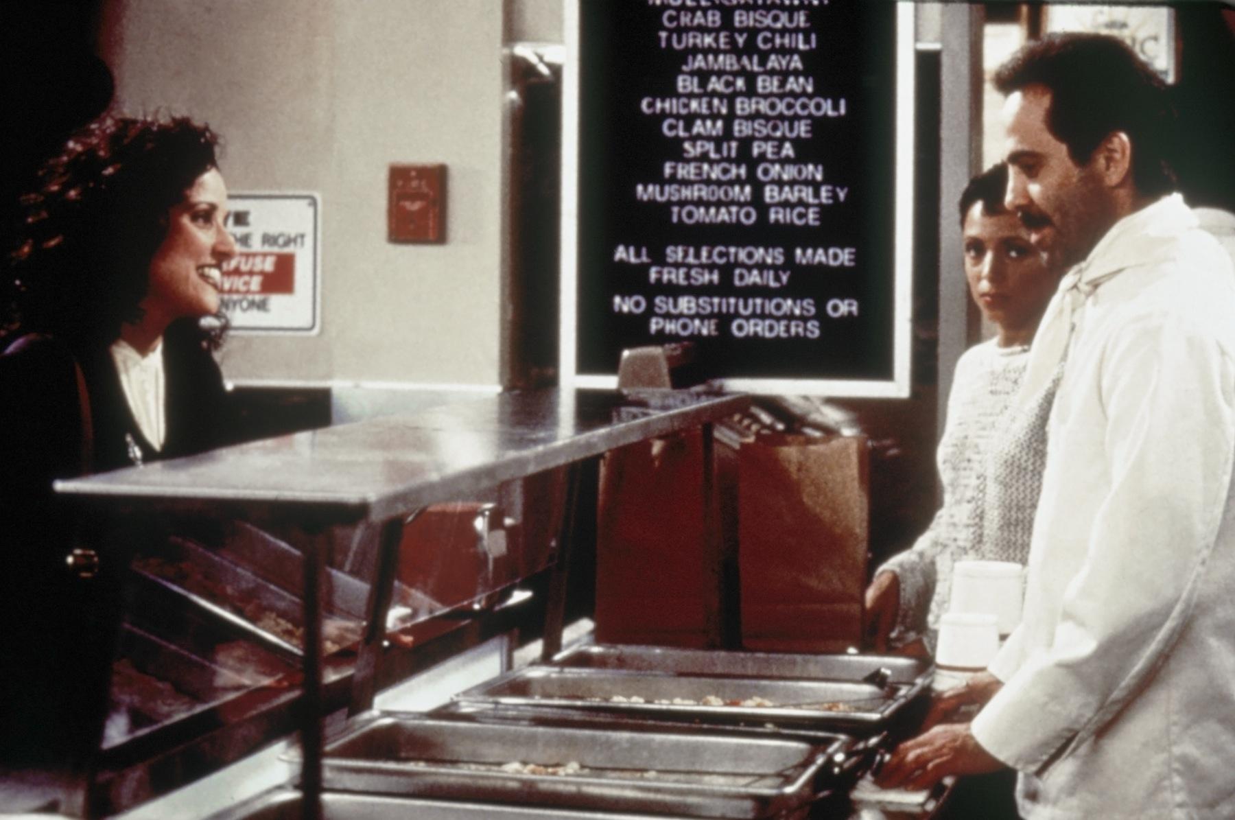 Julia Louis-Dreyfus as Elaine Benes, Larry Thomas as Soup Nazi