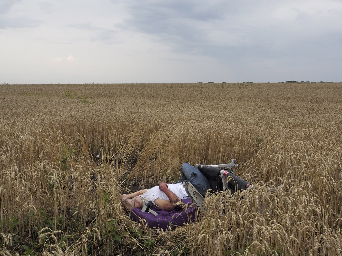 Jul. 17, 2014. The body of a passenger lays in a field after a Malaysia Airlines jet carrying 295 people from Amsterdam to Kuala Lumpur crashed, in Torez, in rebel-held east Ukraine.