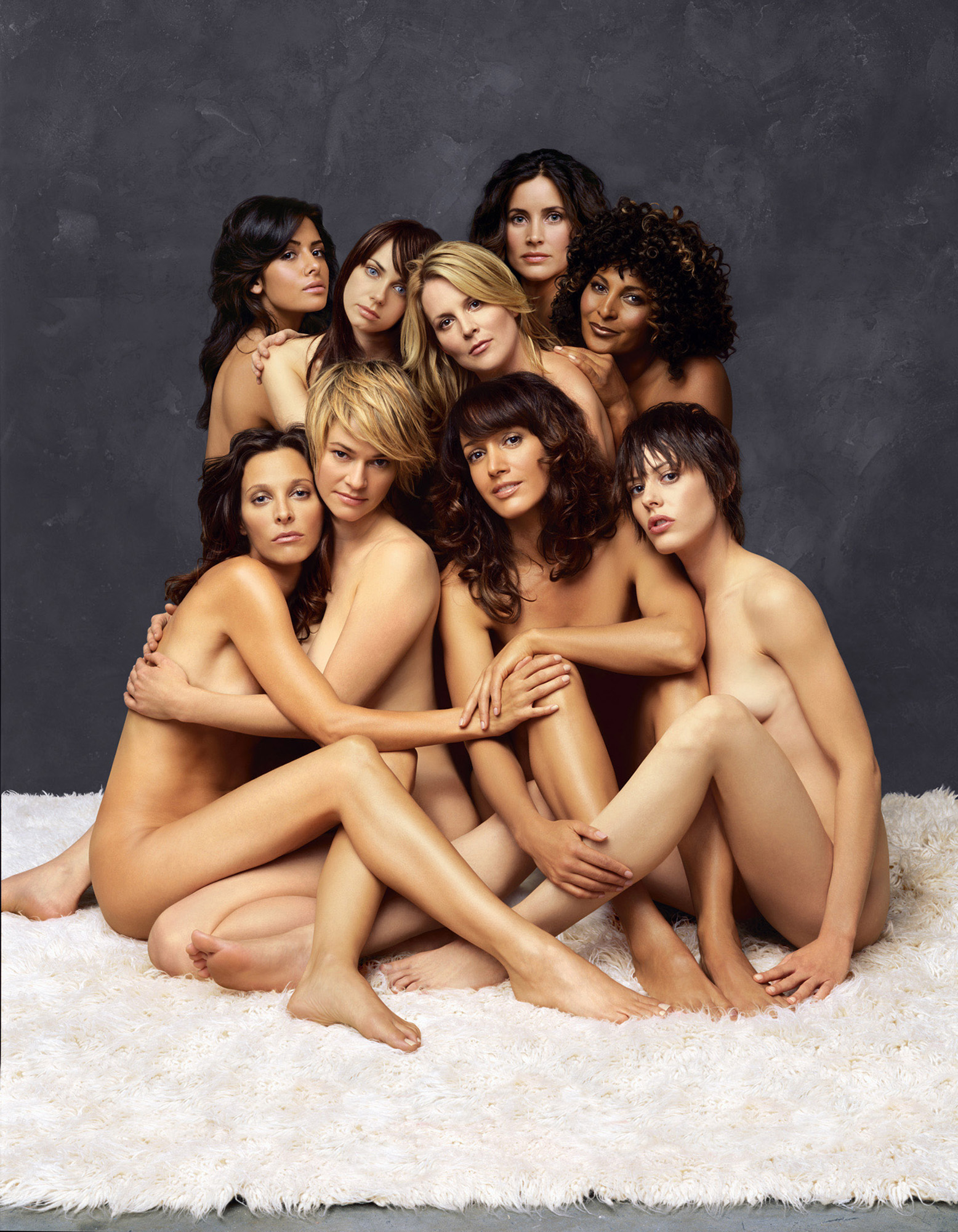 This undated photo from Showtime, shows cast members from the television series  The L Word.  Pictured in the top row, left to right, are Sarah Shahi, Mia Kirshner, Laurel Holloman, Rachel Shelley and Pam Grier. In the bottom row, left to right, are Erin Daniels, Leisha Hailey, Jennifer Beals and Katherine Moennig.