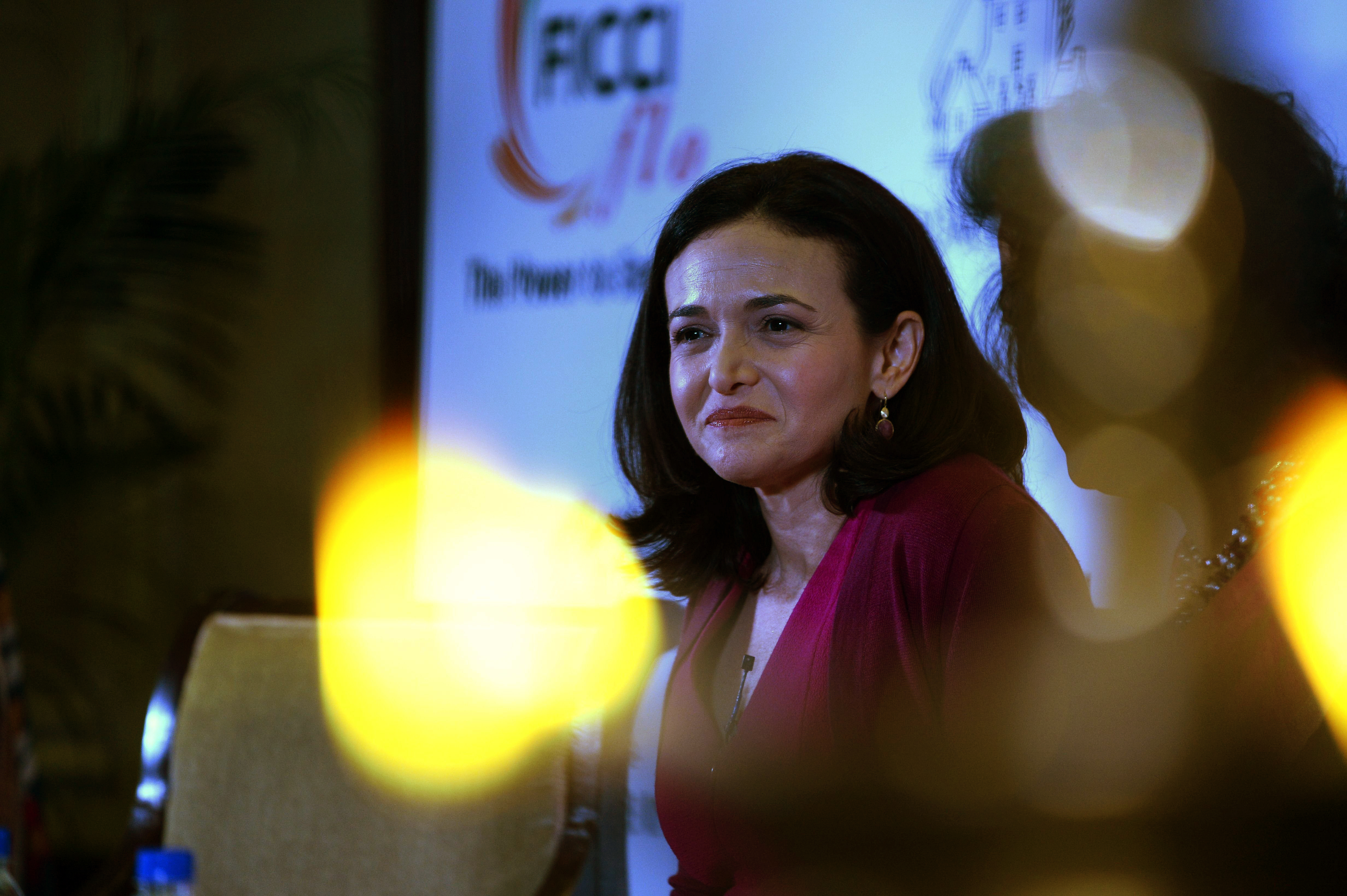 Facebook chief operating officer (COO), Sheryl Sandberg addresses an interactive session organized by the women's wing of the Federation of Indian Chambers of Commerce and Industry (FICCI) in New Delhi on July 2, 2014.
