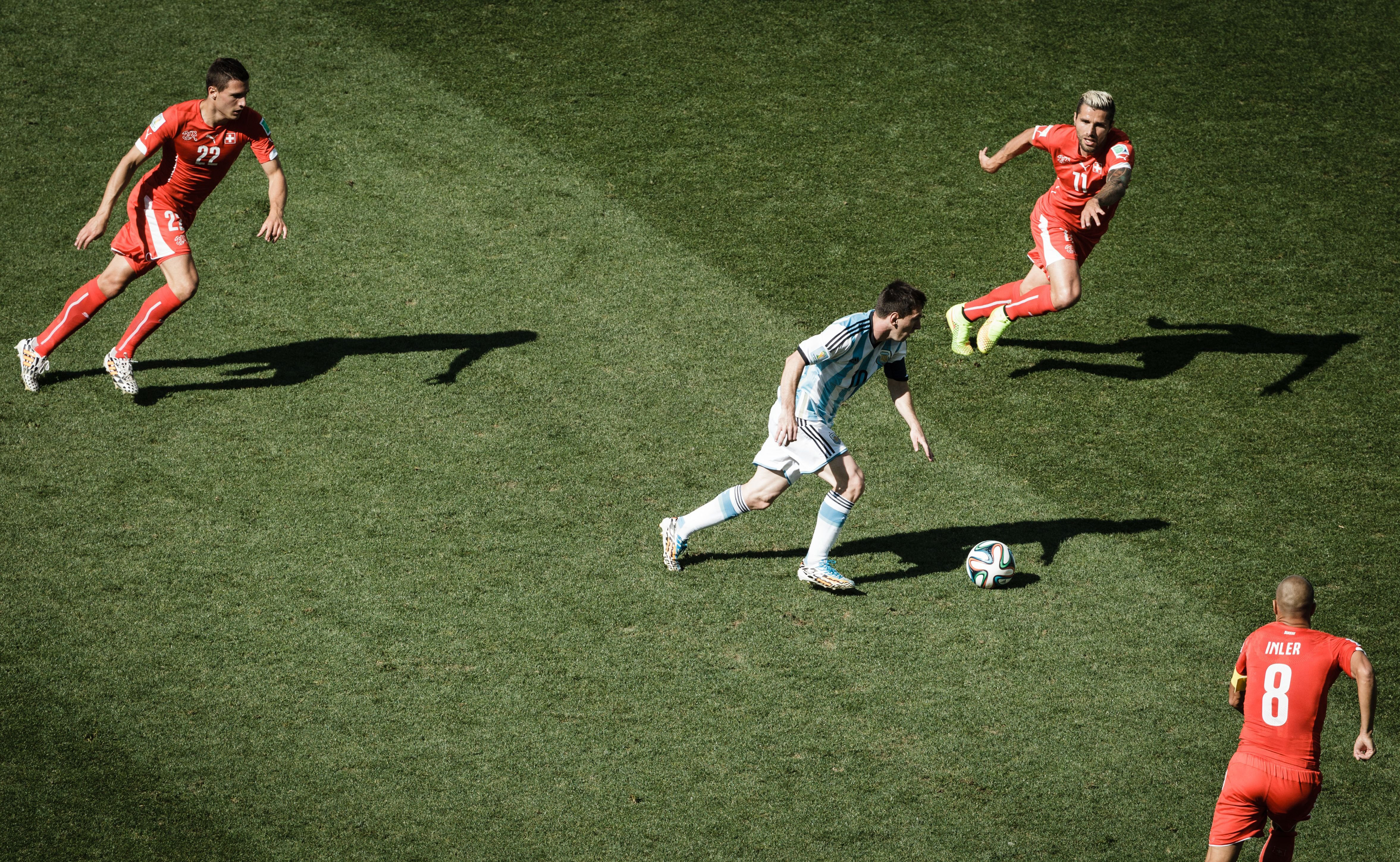 Messi dribbles at the Arena Corinthians in Sao Paulo, Brazil on July 1, 2014.