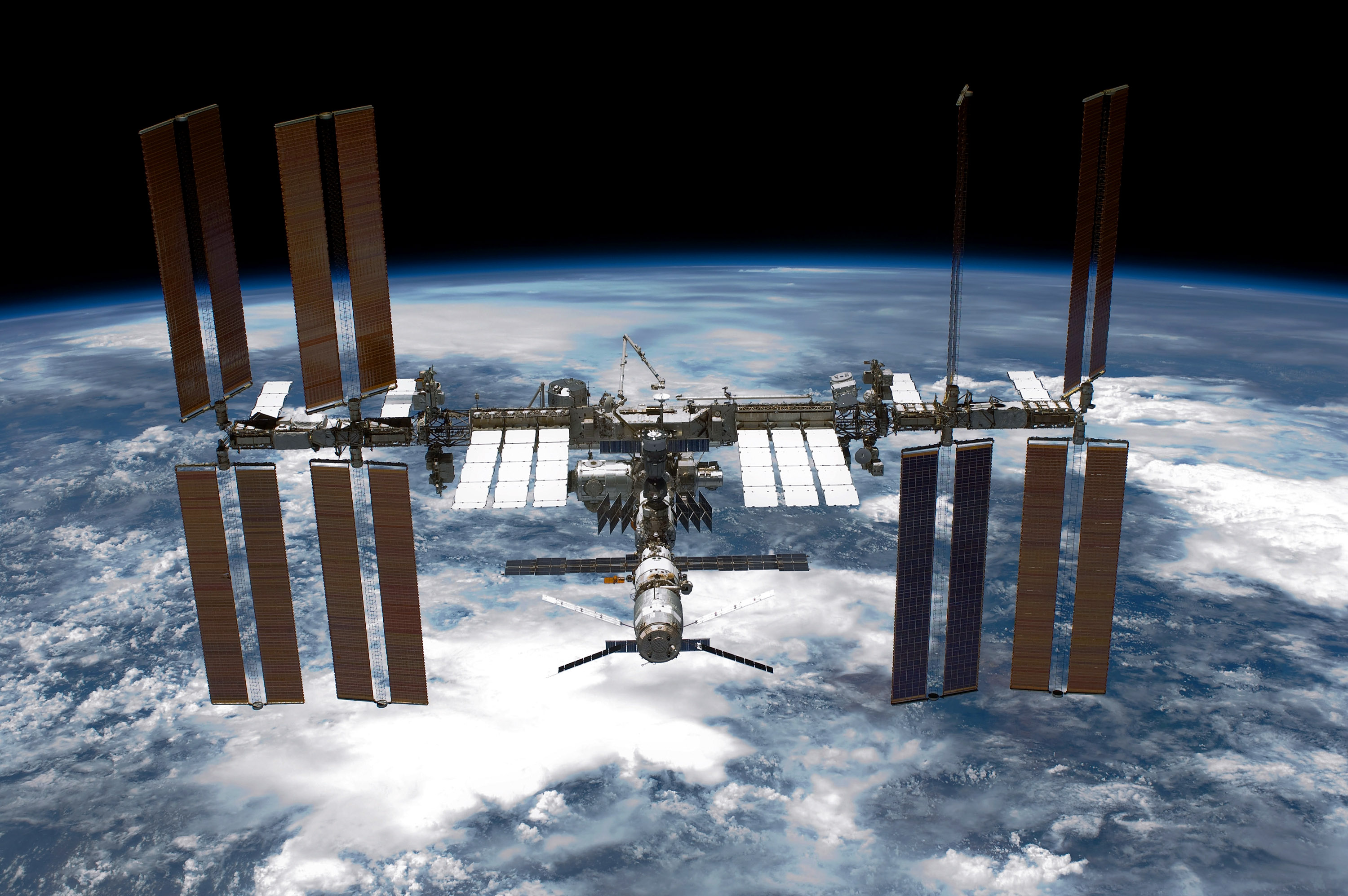 The space station as photographed by the shuttle Endeavour