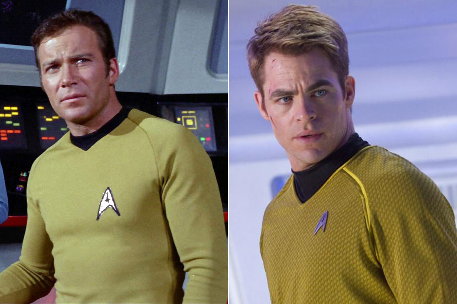 The original <i>Star Trek</i> television series was created and by Gene Roddenberry in 1966 and starred William Shatner as Captain James Tiberius Kirk of the USS Enterprise. The iconic sci-fi franchise was rebooted for the big screen in the 2009 film <i>Star Trek</i> and starred Chris Pine as the new Captain Kirk.
