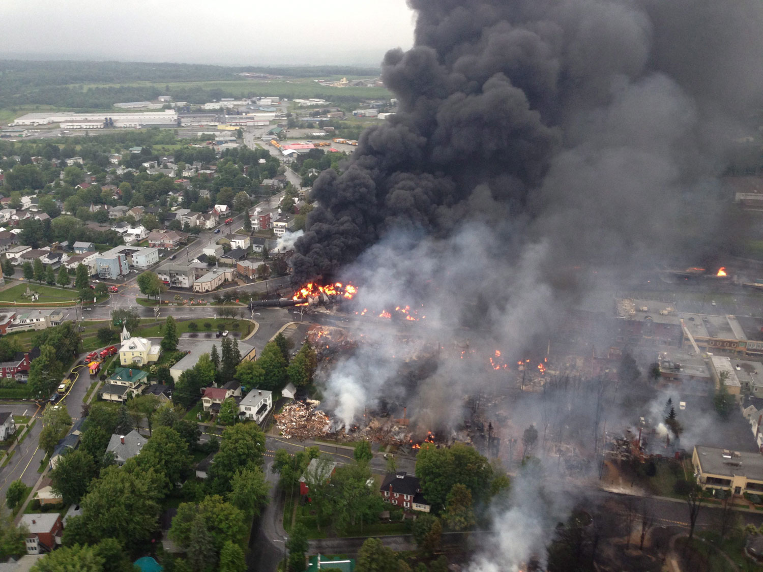 However, it is actually the town of Lac-Megantic, Quebec following a train derailment that sparked several explosions on July 6, 2013.
