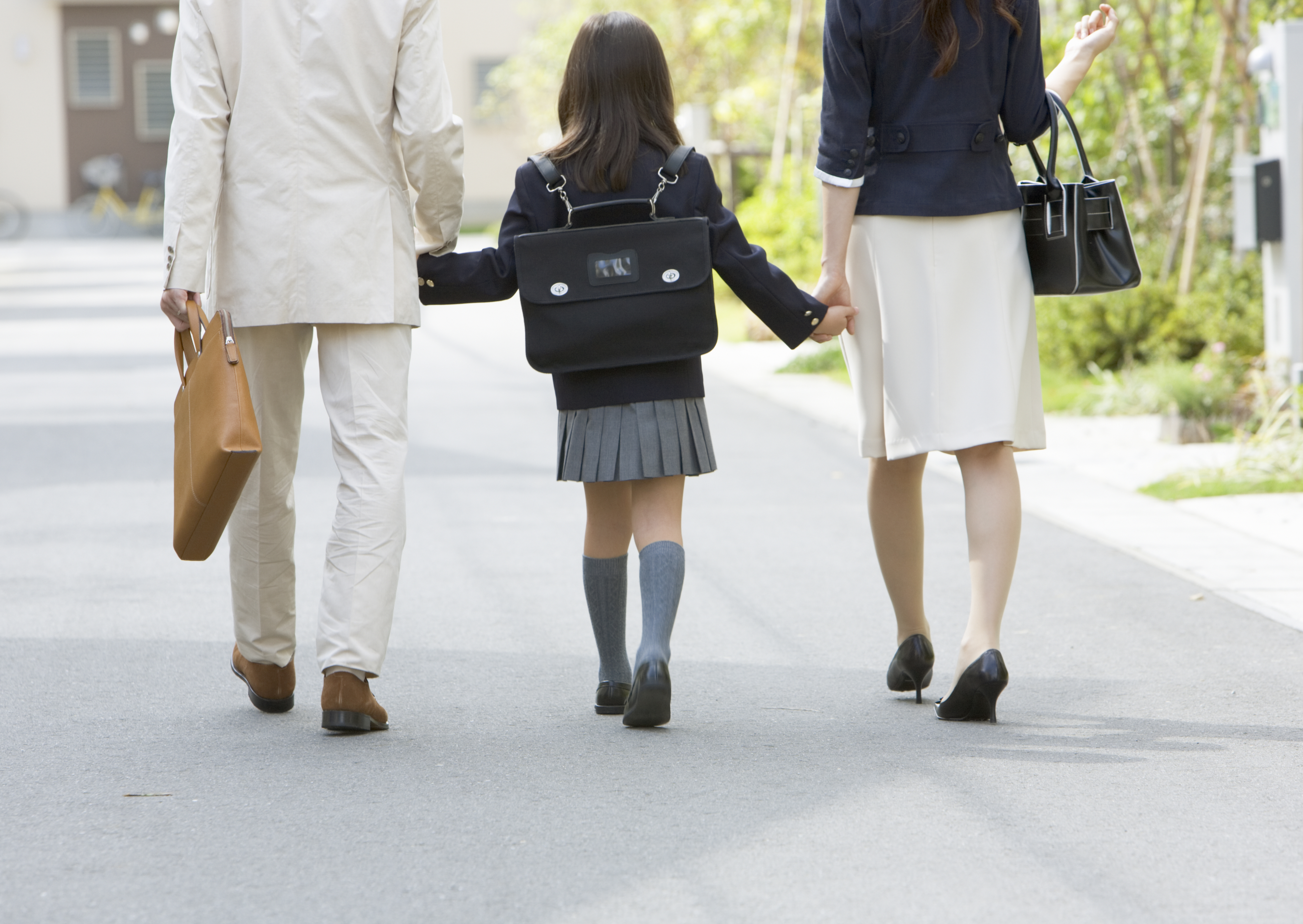 Family walking around the residential district