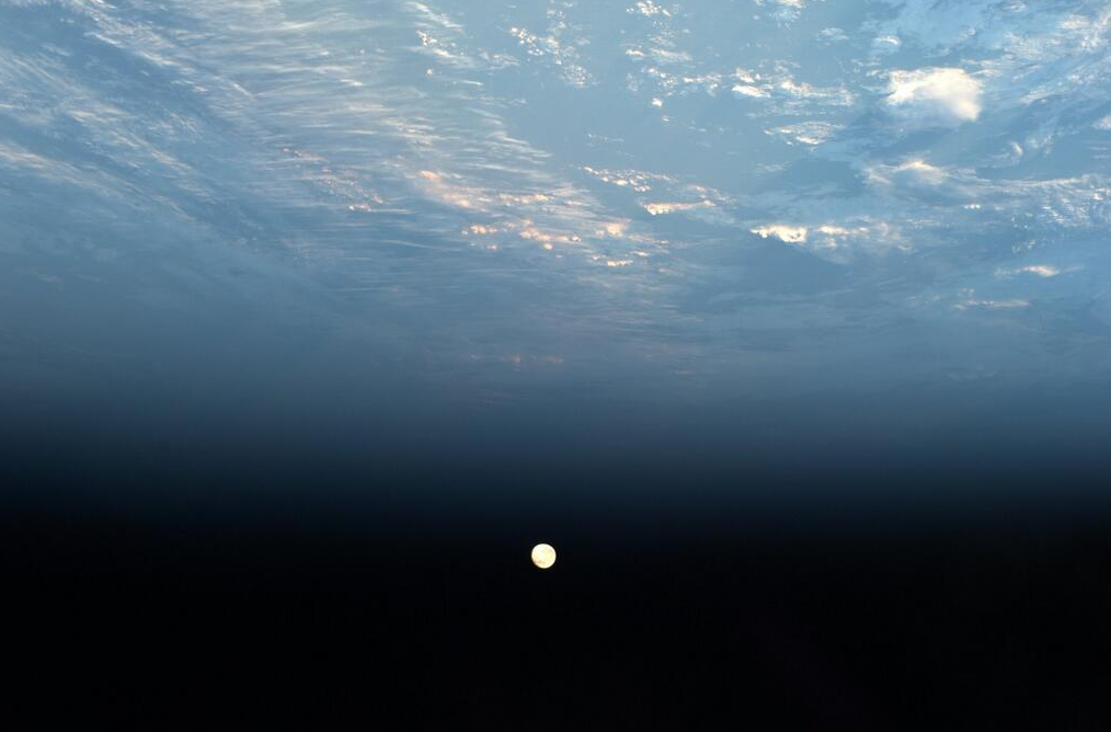 The Supermoon captured from the International Space Station.