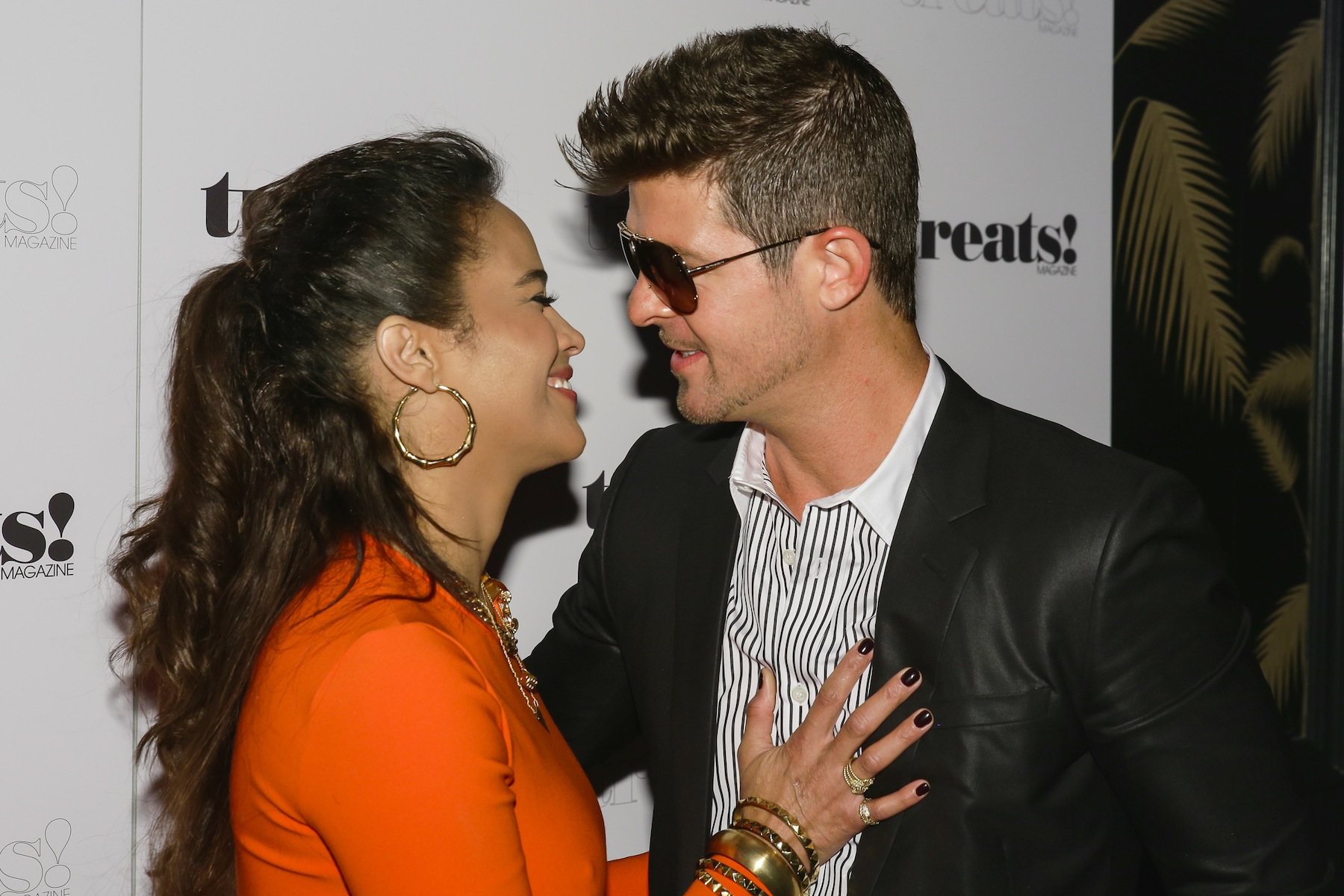 Paula Patton and Robin Thicke attend a Robin Thicke album release party on Sept. 4, 2013, in New York City.
