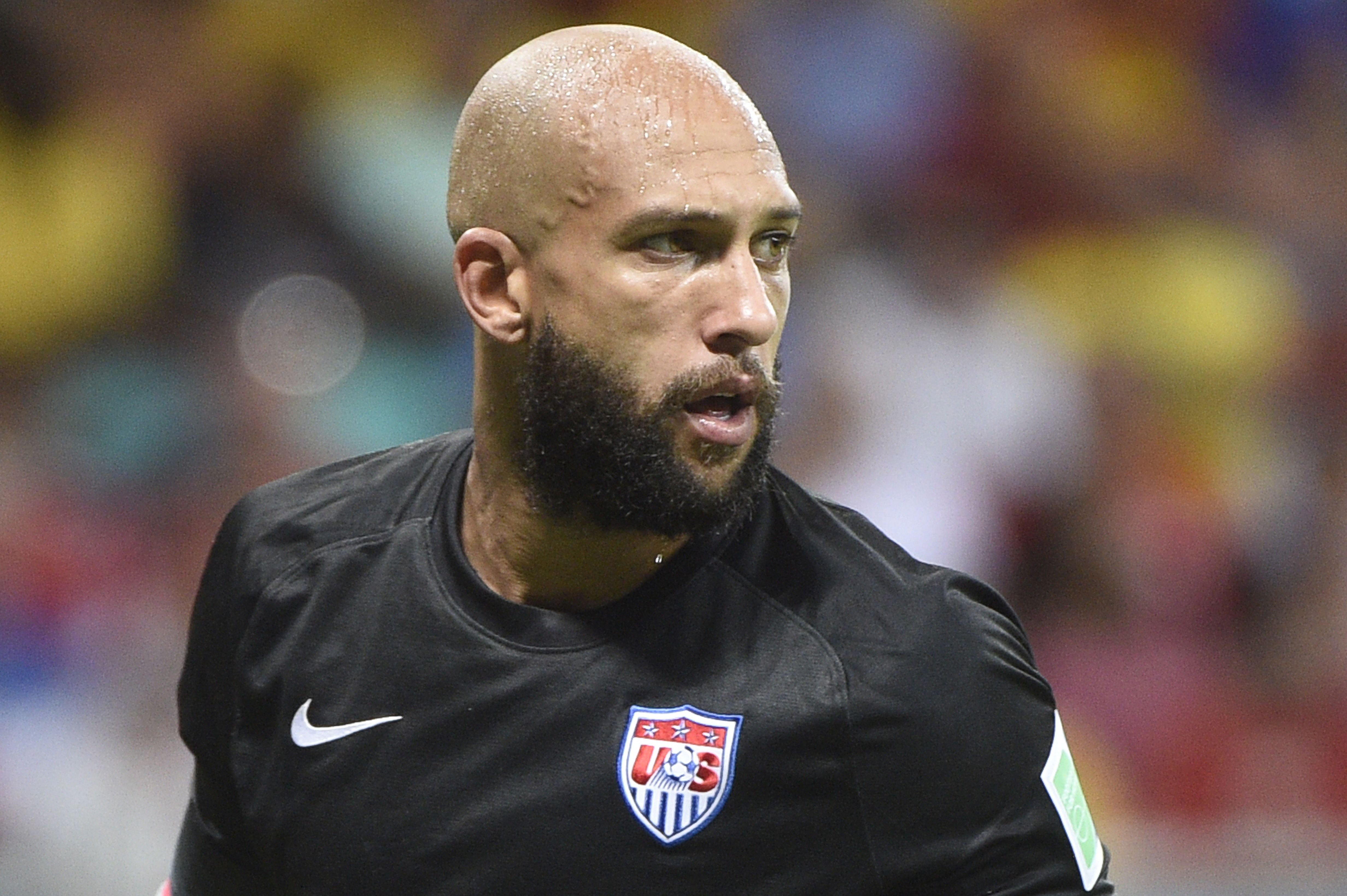 US goalkeeper Tim Howard during a Round of 16 football match between Belgium and USA during the 2014 FIFA World Cup at Fonte Nova Arena in Salvador, Brazil on July 1, 2014.