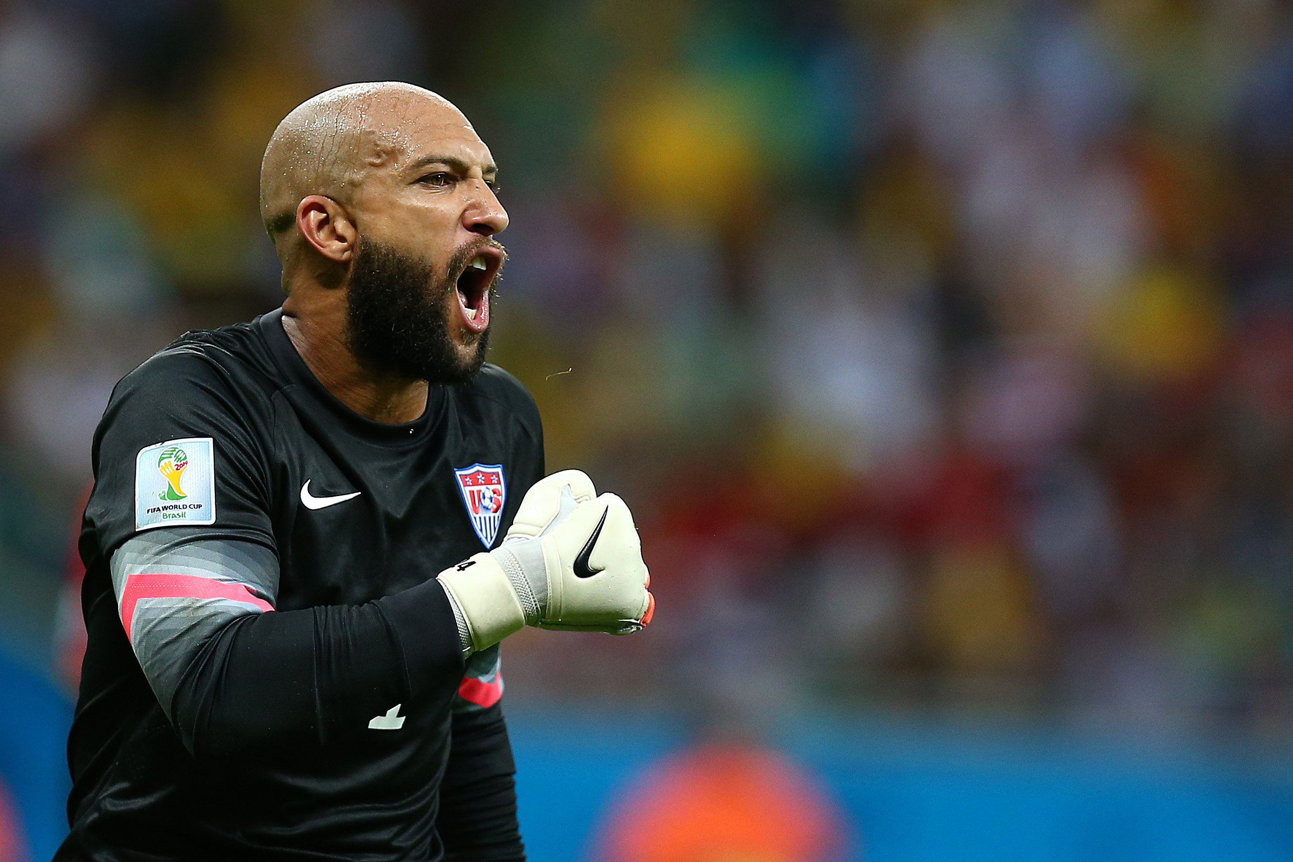 Tim Howard shouts                   during  Belgium - USA game in Arena Fonte Nova, Salvador, Brazil,  July 1.