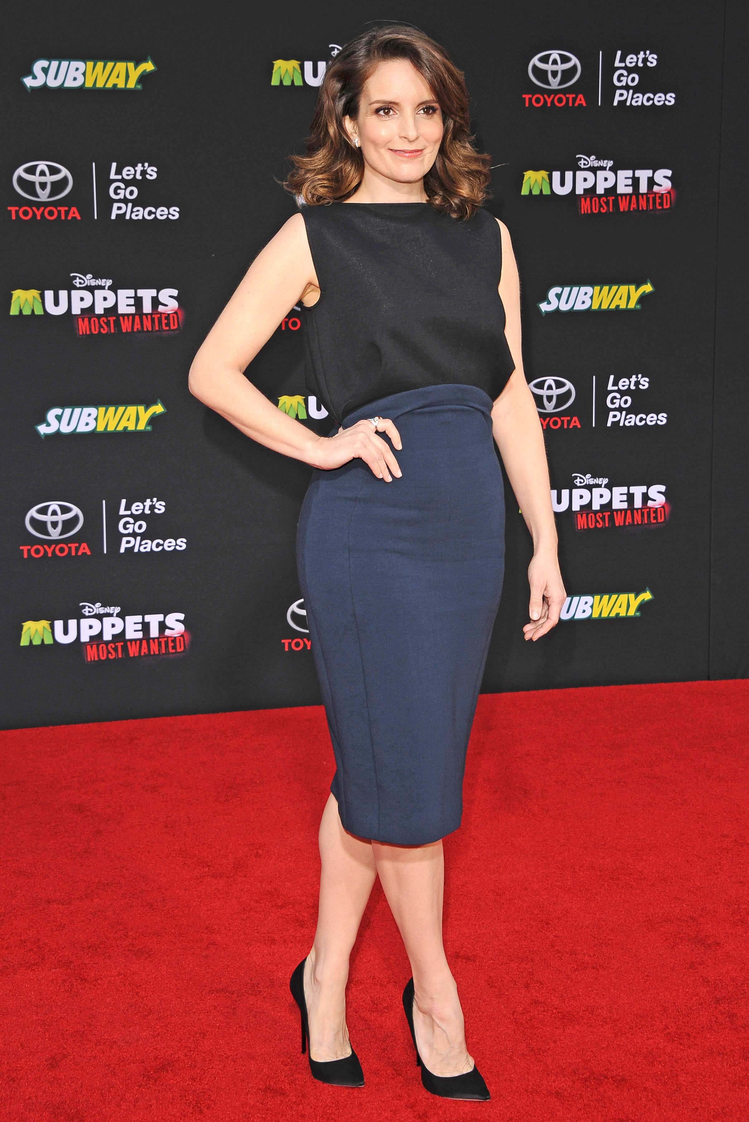 Tina Fey arrives at the Los Angeles premiere of 'Muppets Most Wanted' at the El Capitan Theatre on March 11, 2014 in Hollywood.