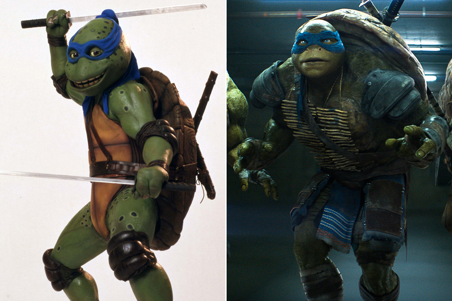 The first <i>Teenage Mutant Ninja Turtles</i> movie in 1990 featured the respective turtles played by a team of puppeteers in animatronic suits made by Jim Henson's Creature shop, while the 2014 reboot of the same name features turtles completely rendered by computer graphics.