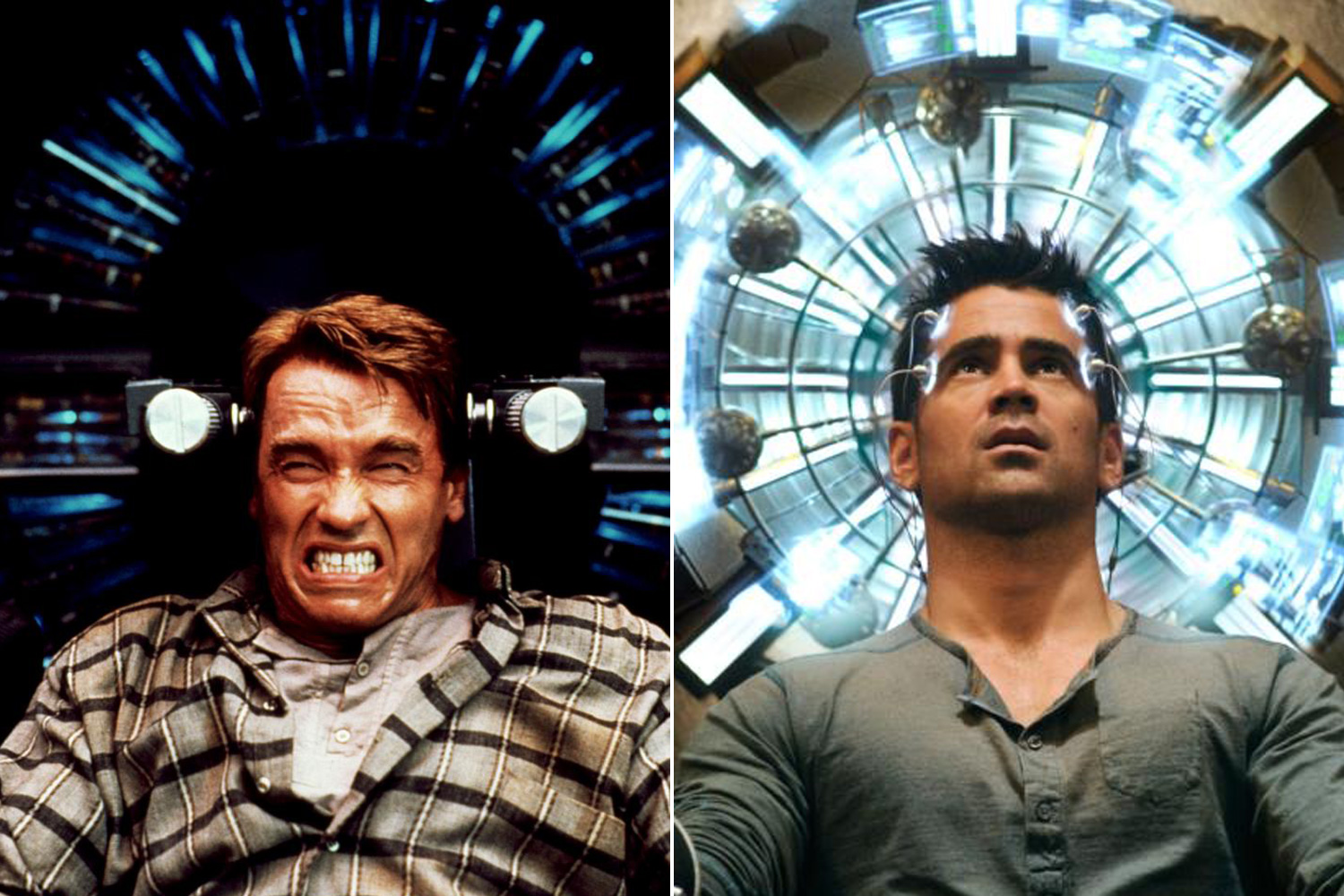 Arnold Schwarzenegger starred in the orignal 1990 sci-fi film <i>Total Recall</i>, while Colin Farrell played his counterpart in the 2012 reboot of the film.