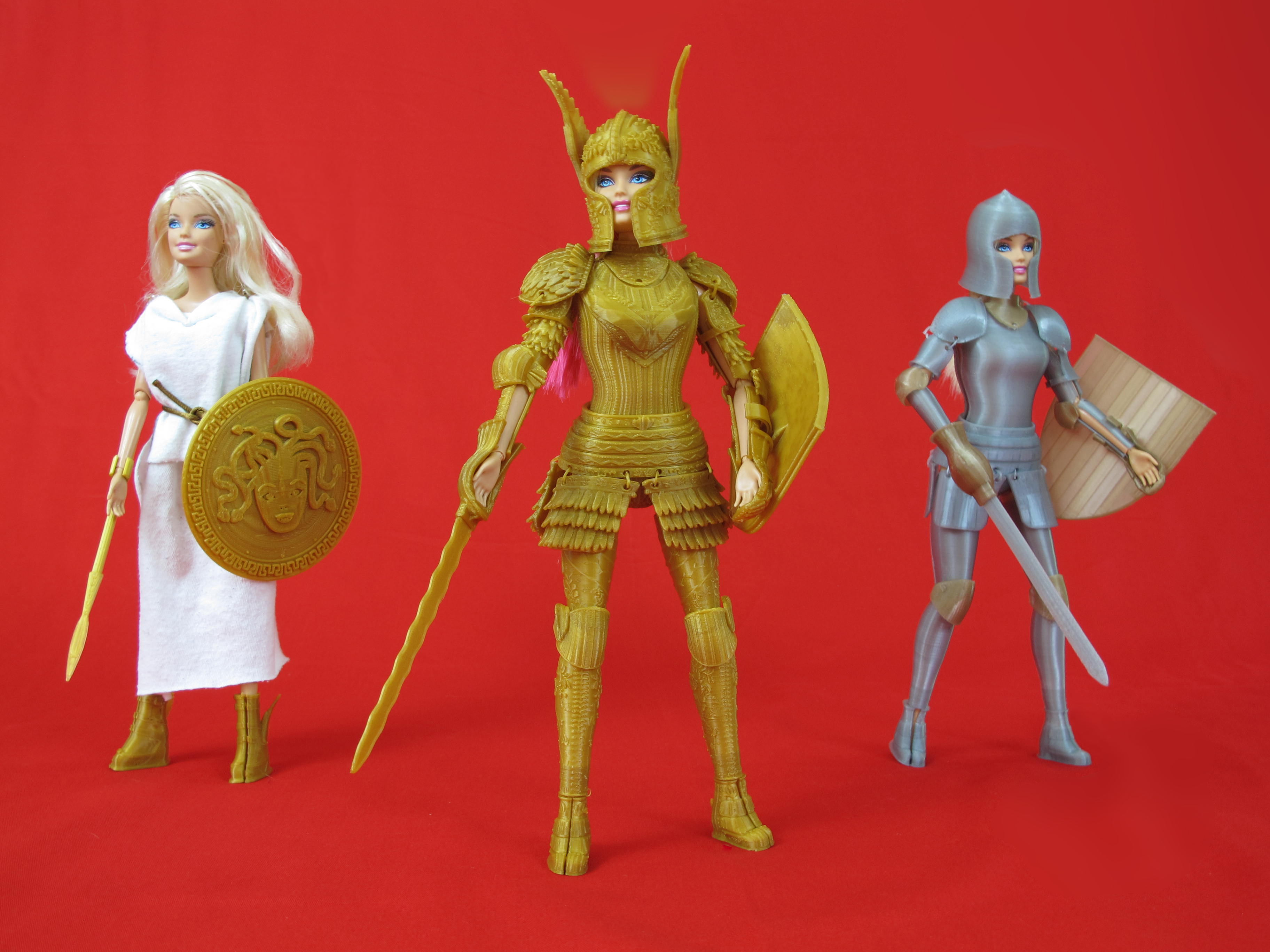 """The three Barbie outfits in  Rodda's  """"Faire Play Battle Set""""."""
