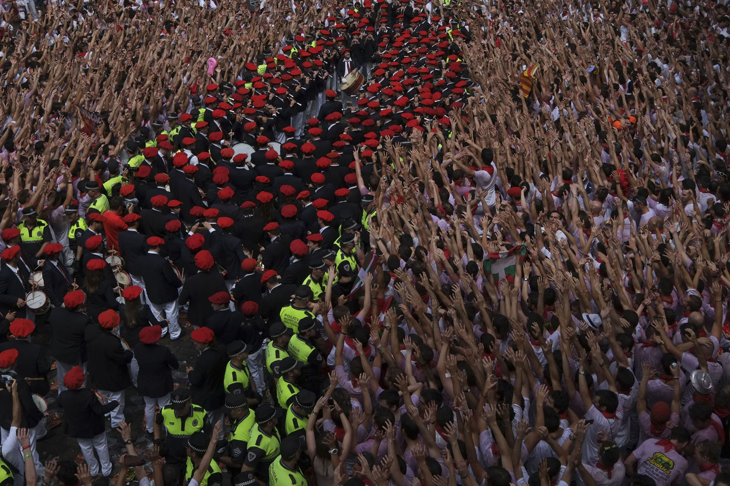 Jul. 6, 2014. A band performs during the  Chupinazo  to mark the start at noon sharp of the San Fermin Festival, in front of the Town Hall of Pamplona, northern Spain.