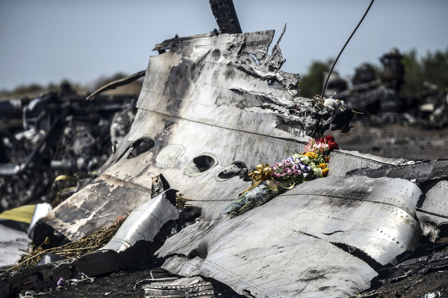 Jul. 26, 2014. Flowers, left by parents of an Australian victim of the crash, laid on a piece of the Malaysia Airlines plane MH17, near the village of Hrabove (Grabovo), in the Donetsk region.
