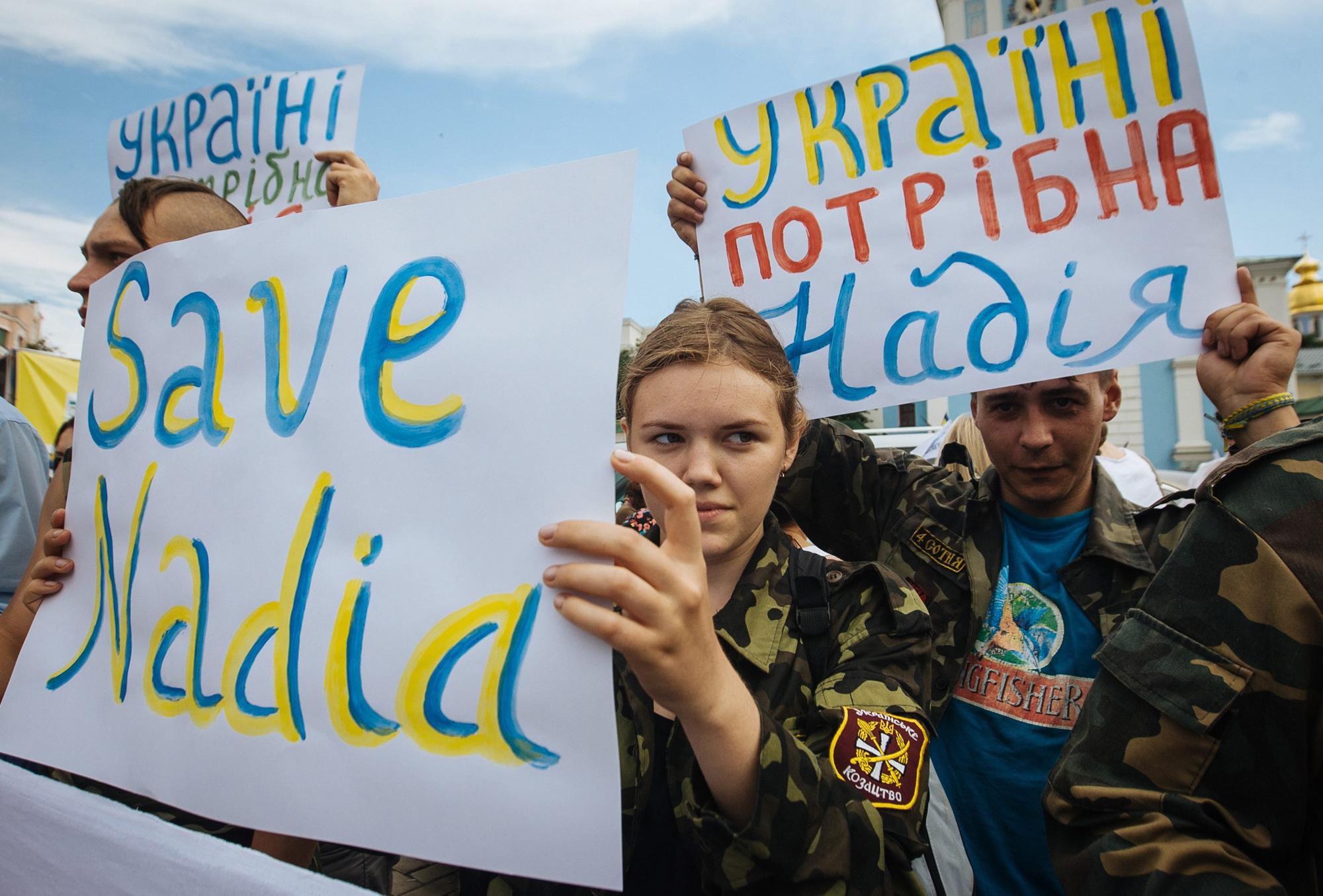 Ukrainian activists demanding the release of Ukrainian officer Nadiya Savchenko from Russian prison in Kiev, Ukraine, July 11.