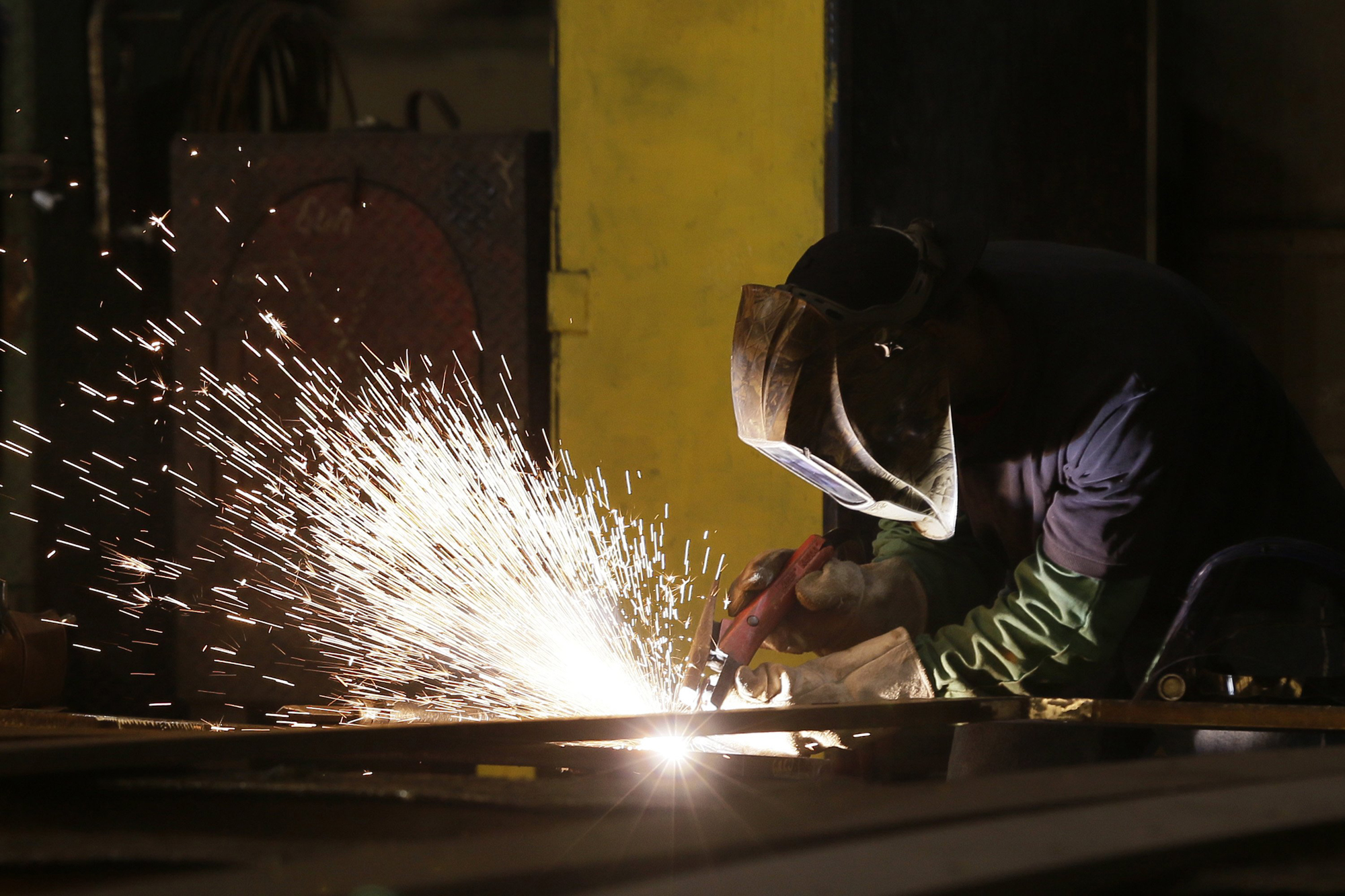 A welder works on a project at Prospect Steel, a unit of Lexicon Inc., in Little Rock, Ark., July 25.