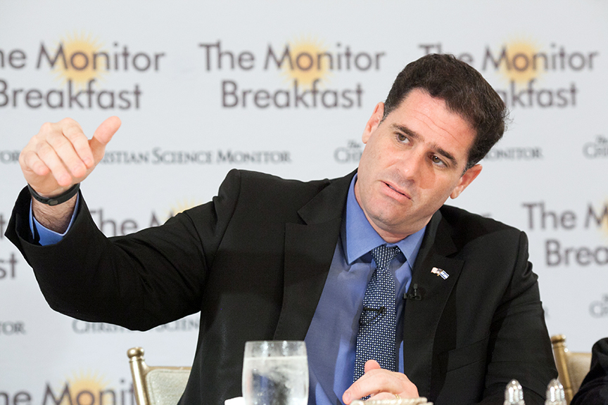 Israeli Ambassador to the United States Ron Dermer speaks to reporters at a breakfast organized by the Christian Science Monitor on July 22, 2014.