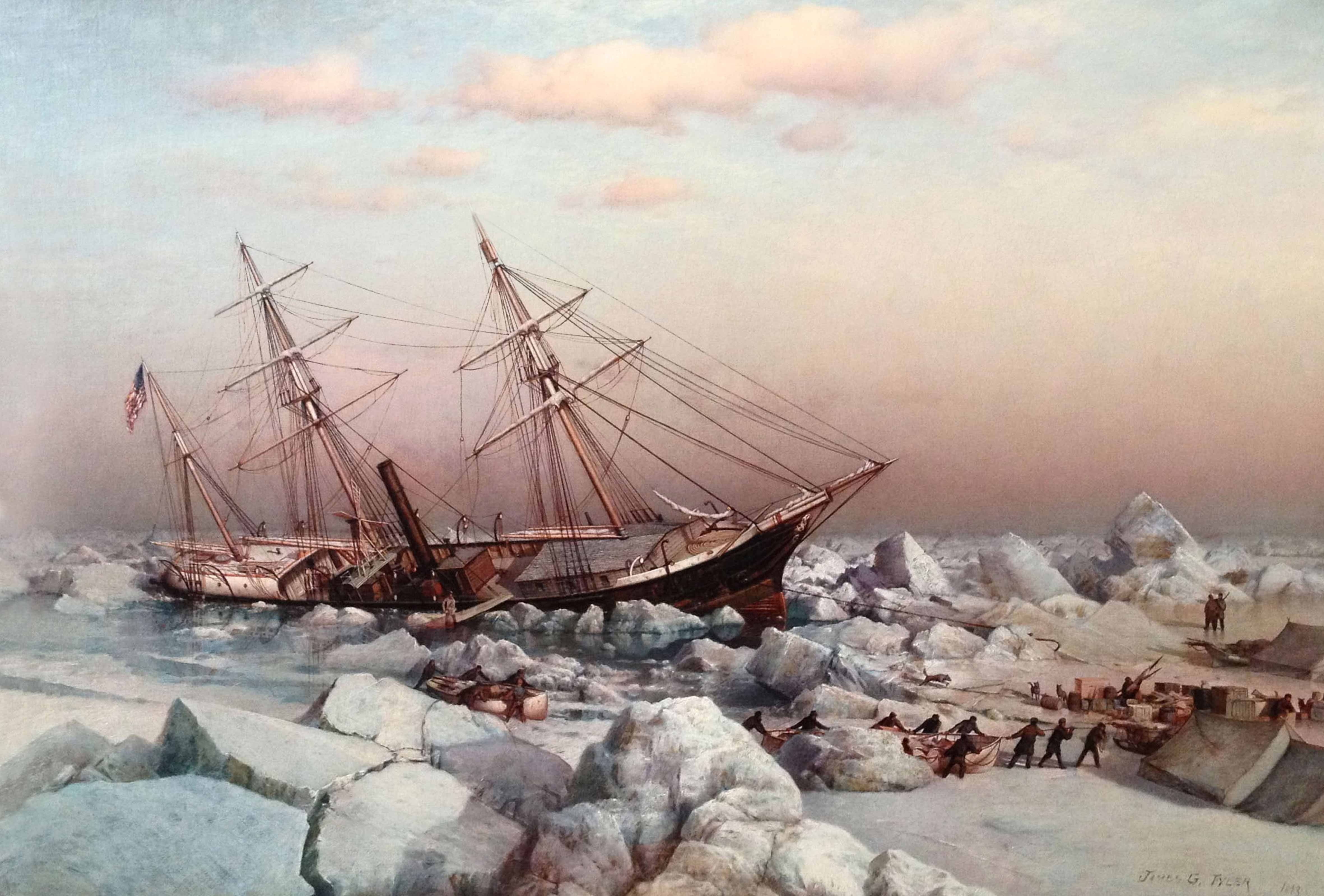 The Jeannette trapped in ice                     An 1883 painting based on drawings in De Long's diary
