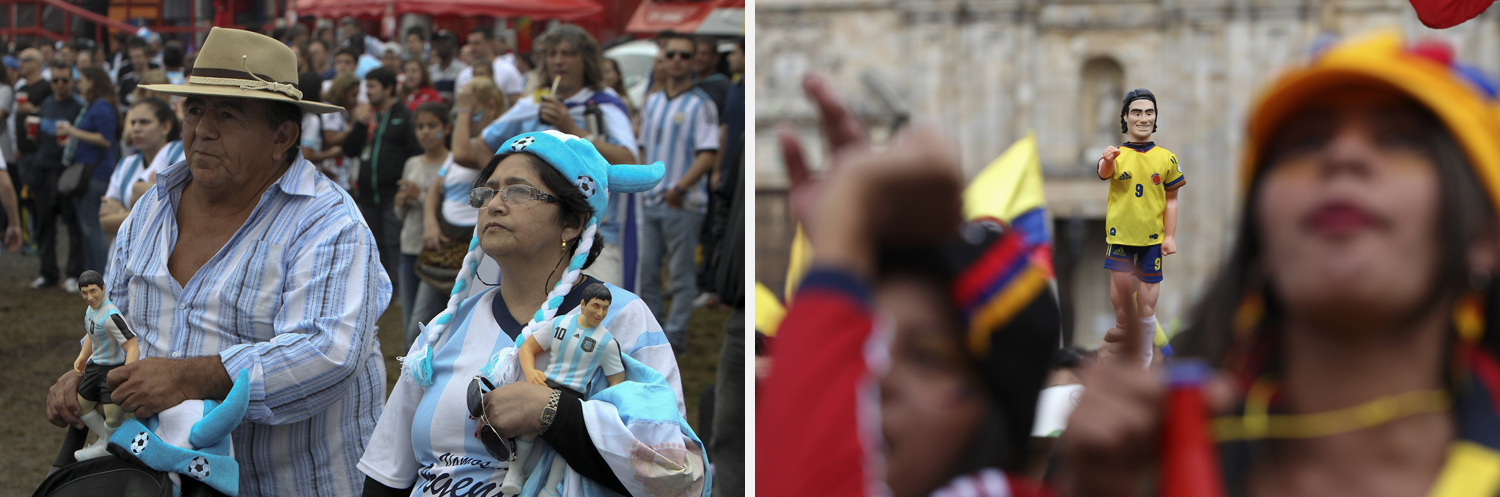 Left: Argentina soccer fans hold miniature Lionel Messi dolls while watching a telecast of the World Cup match between Argentina and Nigeria in Porto Alegre, Brazil. Right: A Colombian fan holds a toy figurine of Colombia's national soccer player Falcao as they watch a broadcast of the World Cup in Bogota, Columbia.