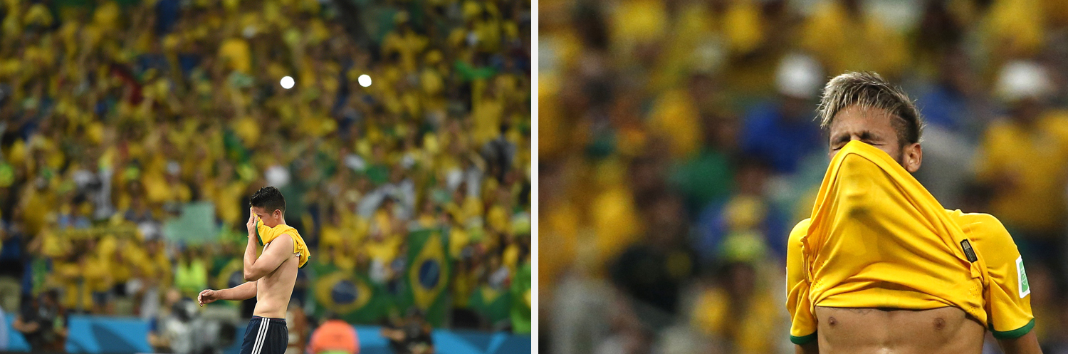 Left: Colombia's midfielder James Rodriguez reacts as he leaves the pitch after the quarter-final football match between Brazil and Colombia at the Castelao Stadium. Right: Brazil's Neymar reacts to a missed shot during the 2014 World Cup quarter-finals between Brazil and Colombia at the Castelao arena.