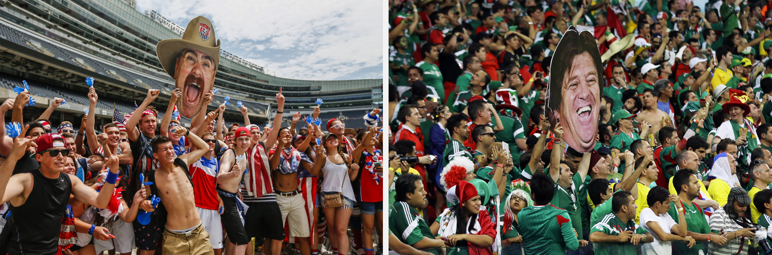 Left: US fans cheer before the start of the match between the US and Belgium in Chicago. Right: Mexico's fans celebrate holding a mask of Mexico's head coach Miguel Herrera after  the group A World Cup soccer match between Croatia and Mexico at the Arena Pernambuco.