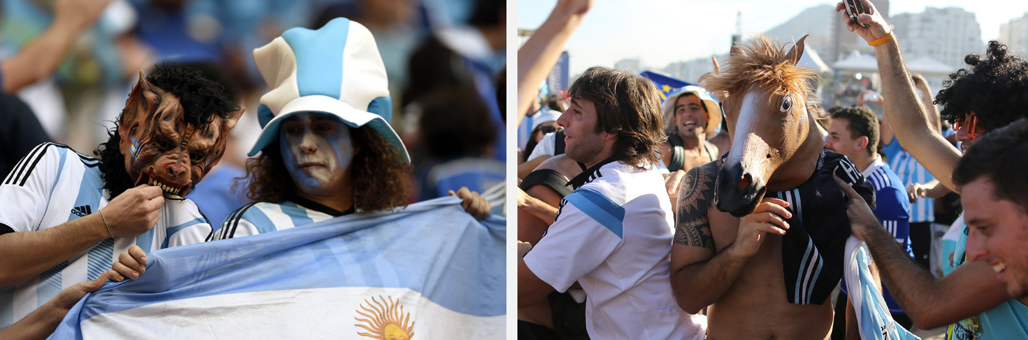 Left: Argentina fans pose before a quarter-finals match between Argentina and Belgium in Brasilia, Brazil. Right: A man wearing a horse mask, stands in the middle of Argentine fans celebrating their team's victory in Rio de Janeiro, Brazil.