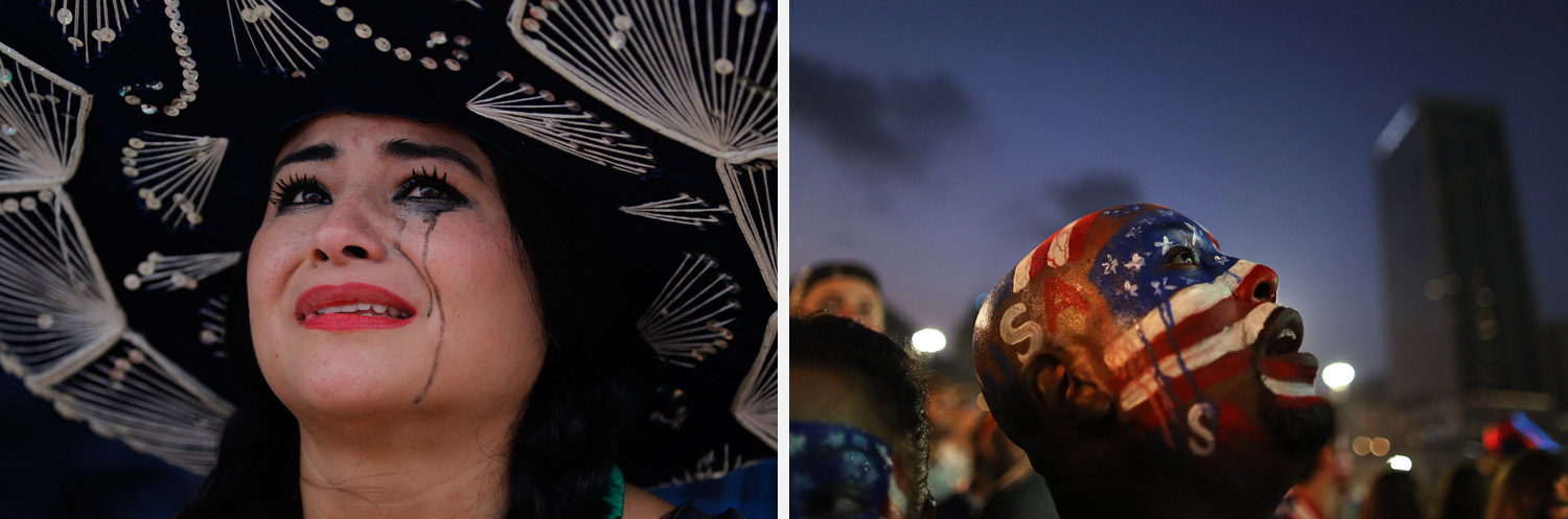Left: A Mexico soccer fan cries after her team was defeated by the Netherlands inside the FIFA Fan Fest area in Rio de Janeiro. Right: A U.S. soccer fan watches his team's World Cup match against Belgium on a live telecast inside the FIFA Fan Fest area in Rio de Janeiro.