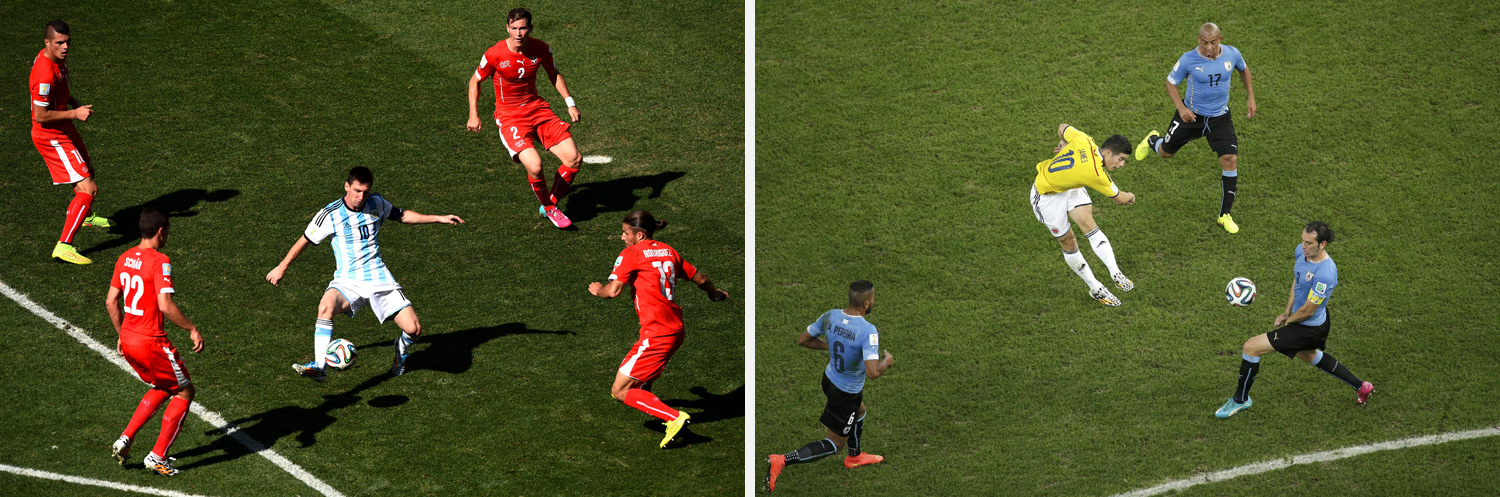 Left: Lionel Messi of Argentina controls the ball during the match between Argentina and Switzerland at Arena de Sao Paulo. Right: Colombia's James Rodriguez scores a goal during the match against Uruguay e at the Maracana stadium.