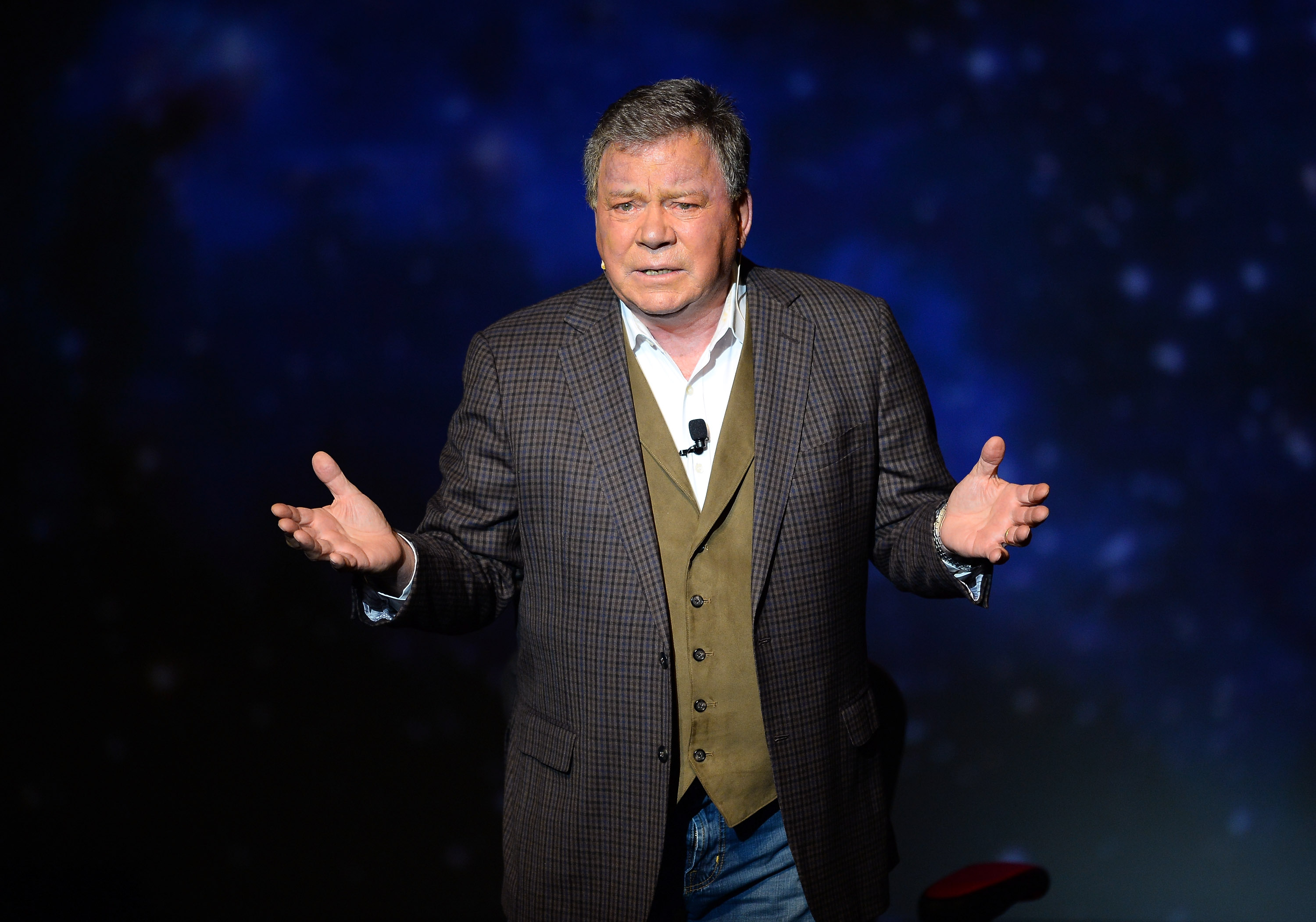 William Shatner performs during his one-man show,  Shatner's World: We Just Live In It,  in Las Vegas, Nevada.