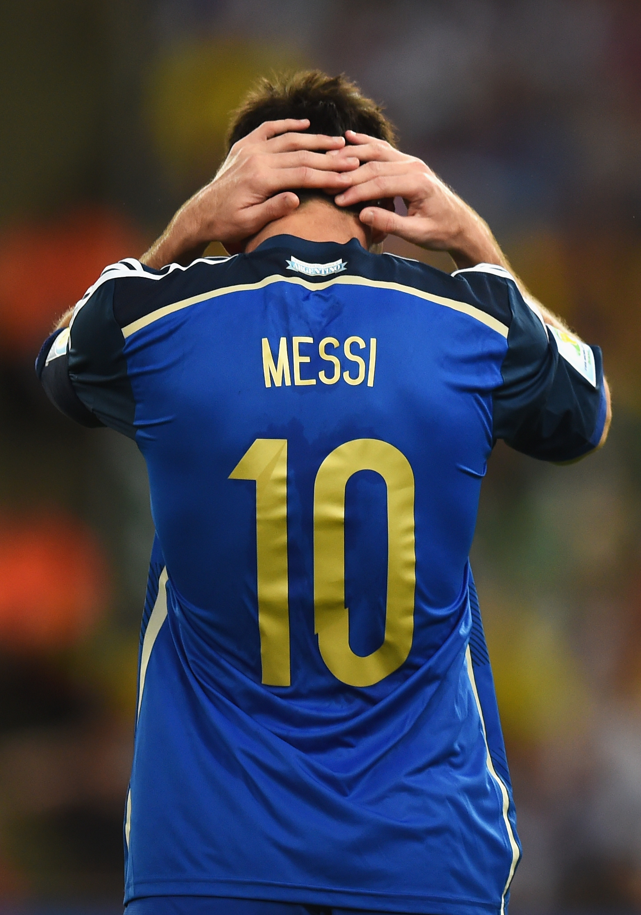 Lionel Messi of Argentina reacts during the 2014 FIFA World Cup match against Germany on July 13 in Rio de Janeiro, Brazil.