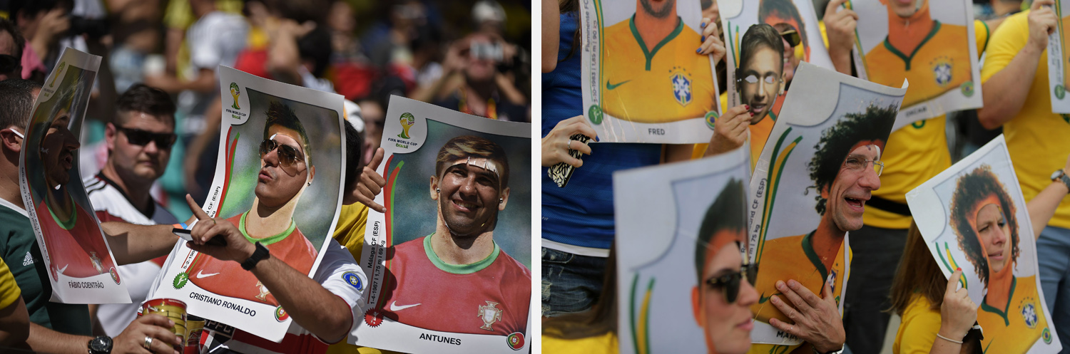 Left: Portugal fans pose prior to the Group G match between Germany and Portugal at the Fonte Nova Arena in Salvador, Brazil. Right: Brazil fans pose prior to the game between Brazil vs Germanyin Belo Horizonte, Brazil.